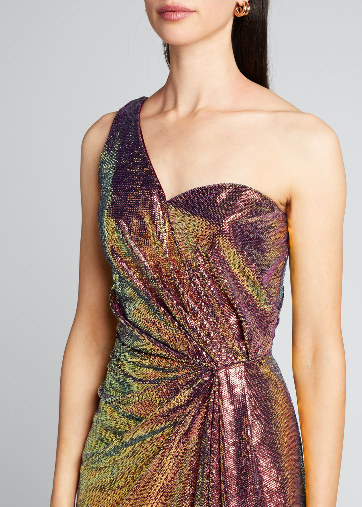 Image 4 of 5: Iridescent Micro Sequin Asymmetrical Gown