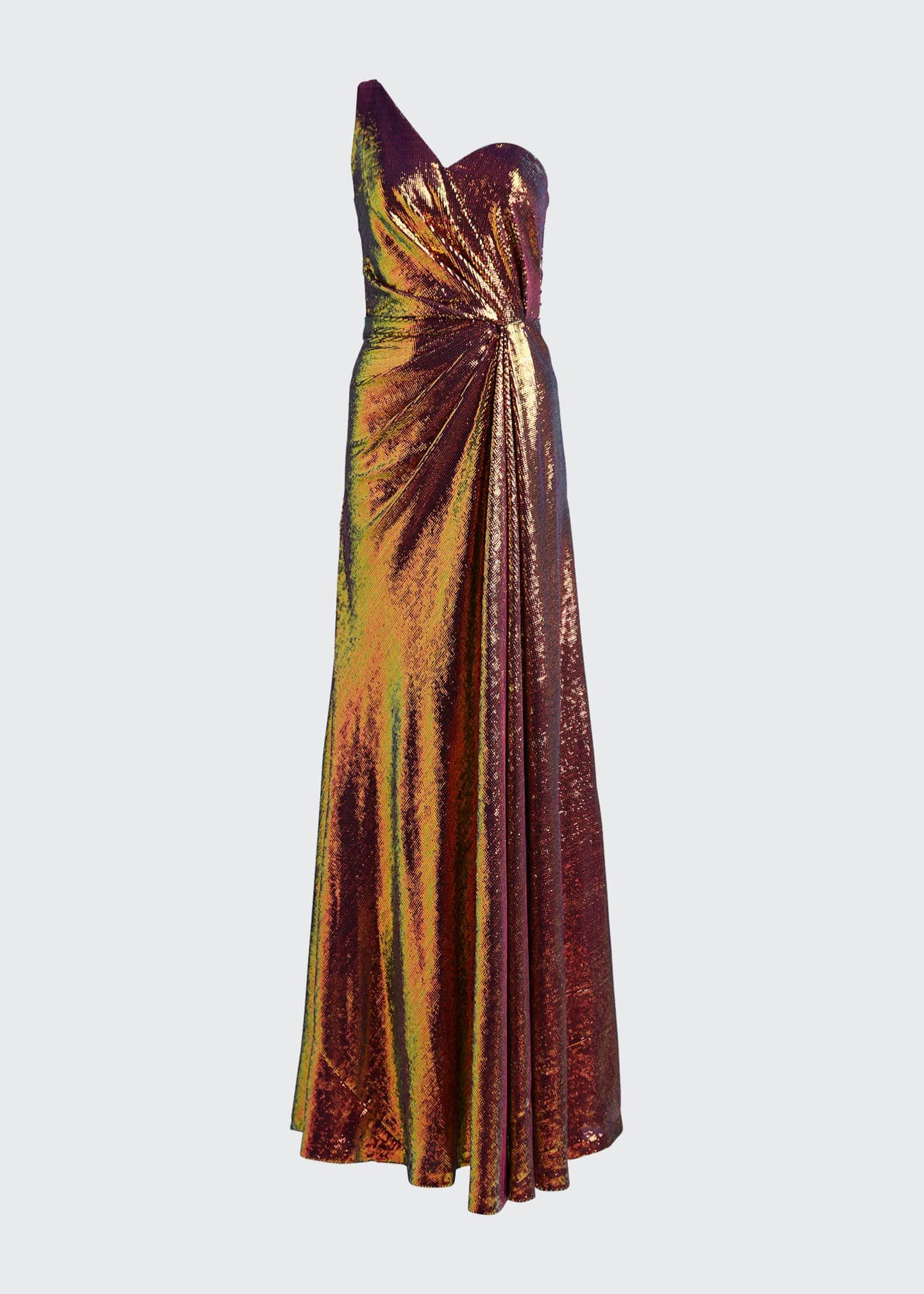 Image 5 of 5: Iridescent Micro Sequin Asymmetrical Gown