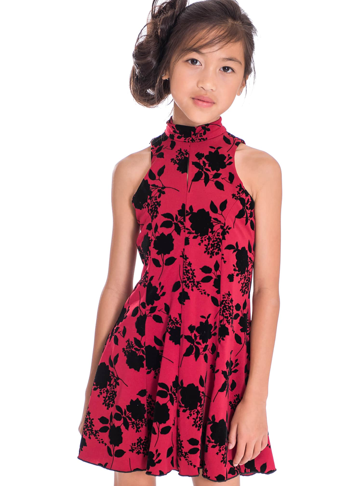 Image 2 of 3: Girl's Flocked Floral High-Neck Dress, Size 7-16