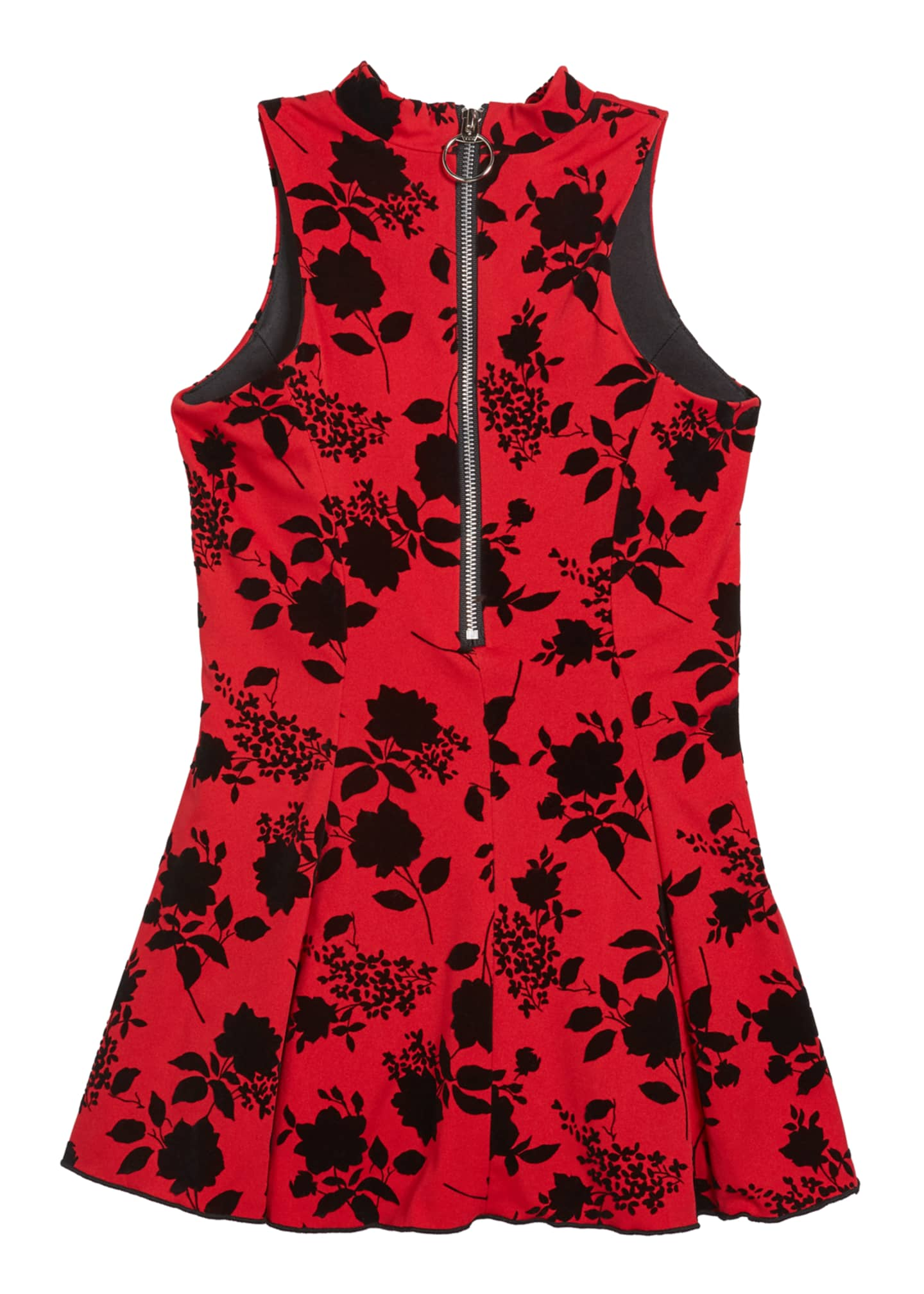 Image 3 of 3: Girl's Flocked Floral High-Neck Dress, Size 7-16