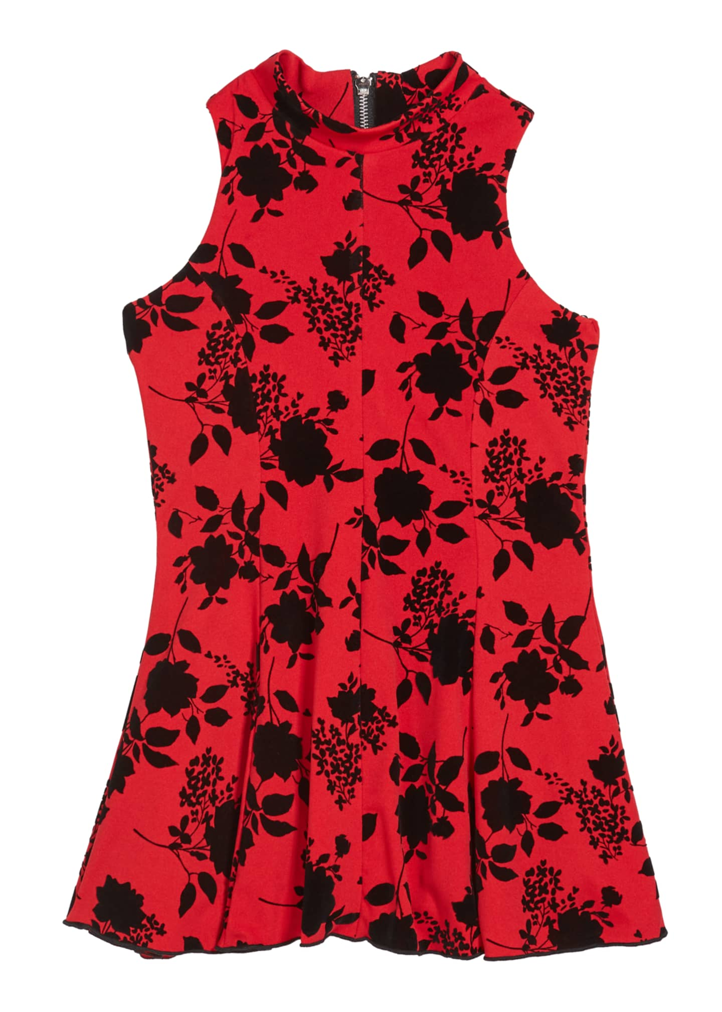 Image 1 of 3: Girl's Flocked Floral High-Neck Dress, Size 7-16
