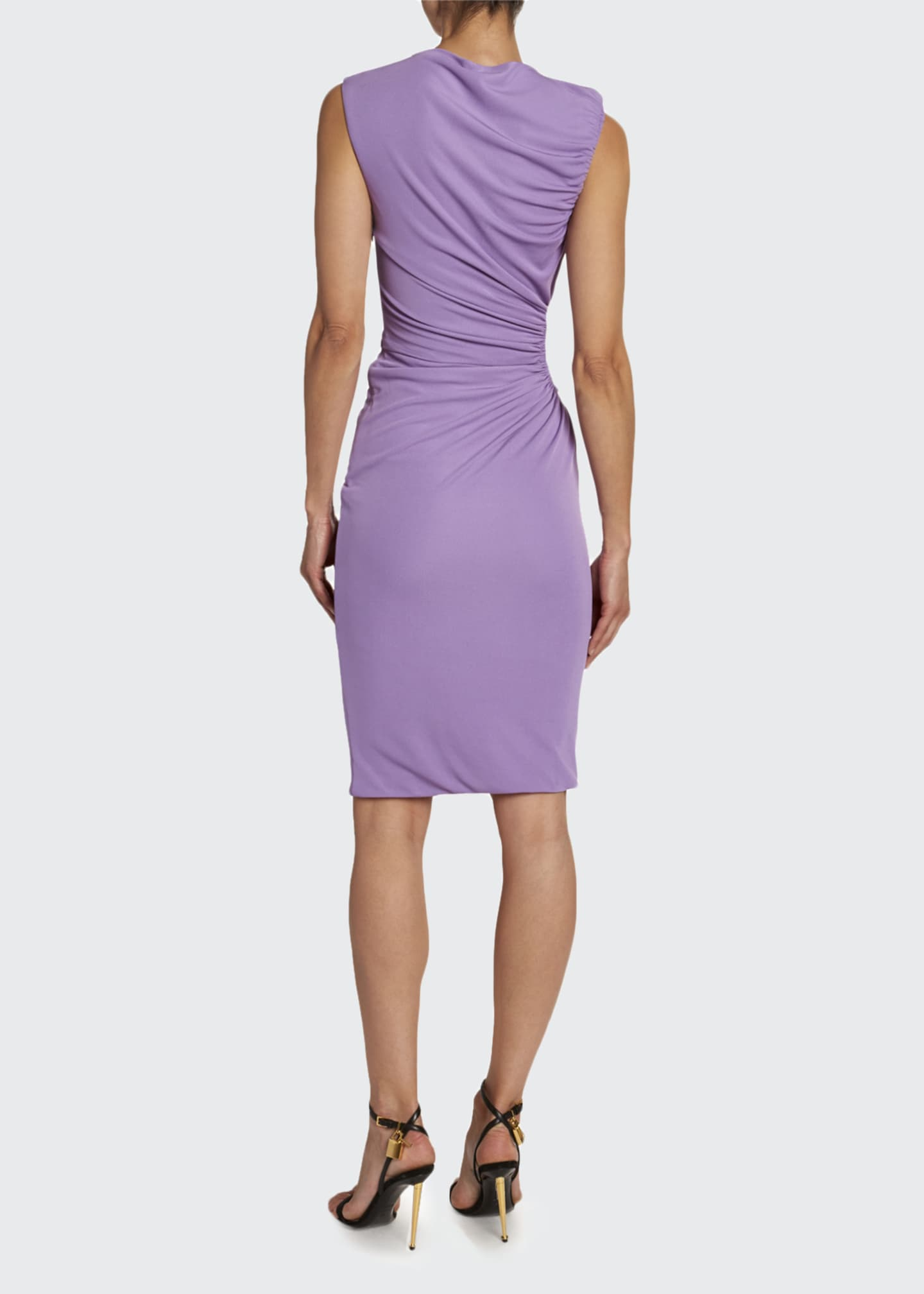 Image 2 of 3: Crepe Jersey Shirred-Cutout Cocktail Dress