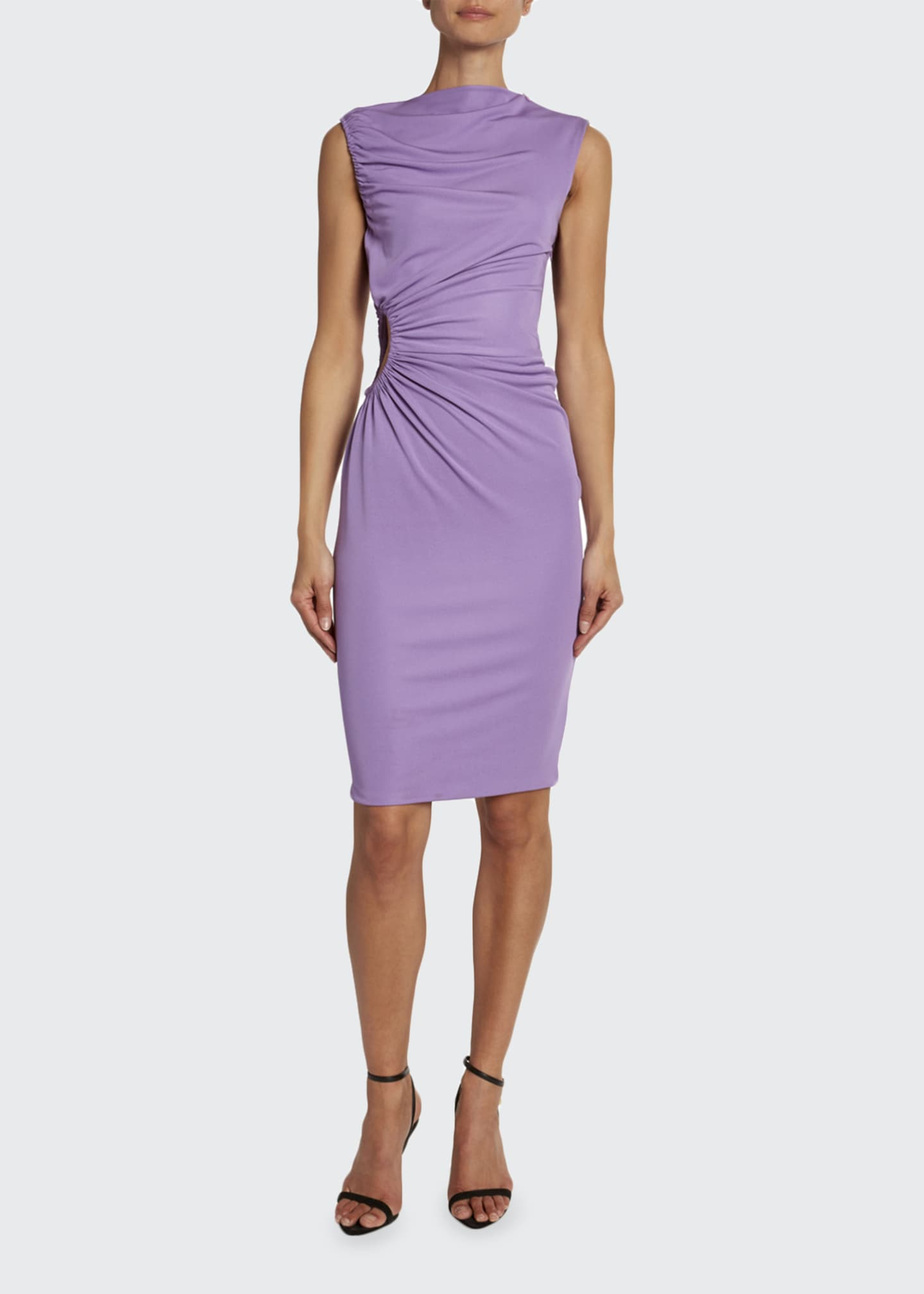 Image 1 of 3: Crepe Jersey Shirred-Cutout Cocktail Dress