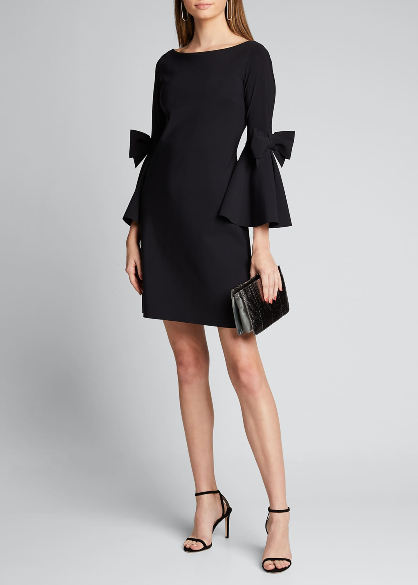 Image 1 of 5: Bell-Sleeve A-Line Short Dress