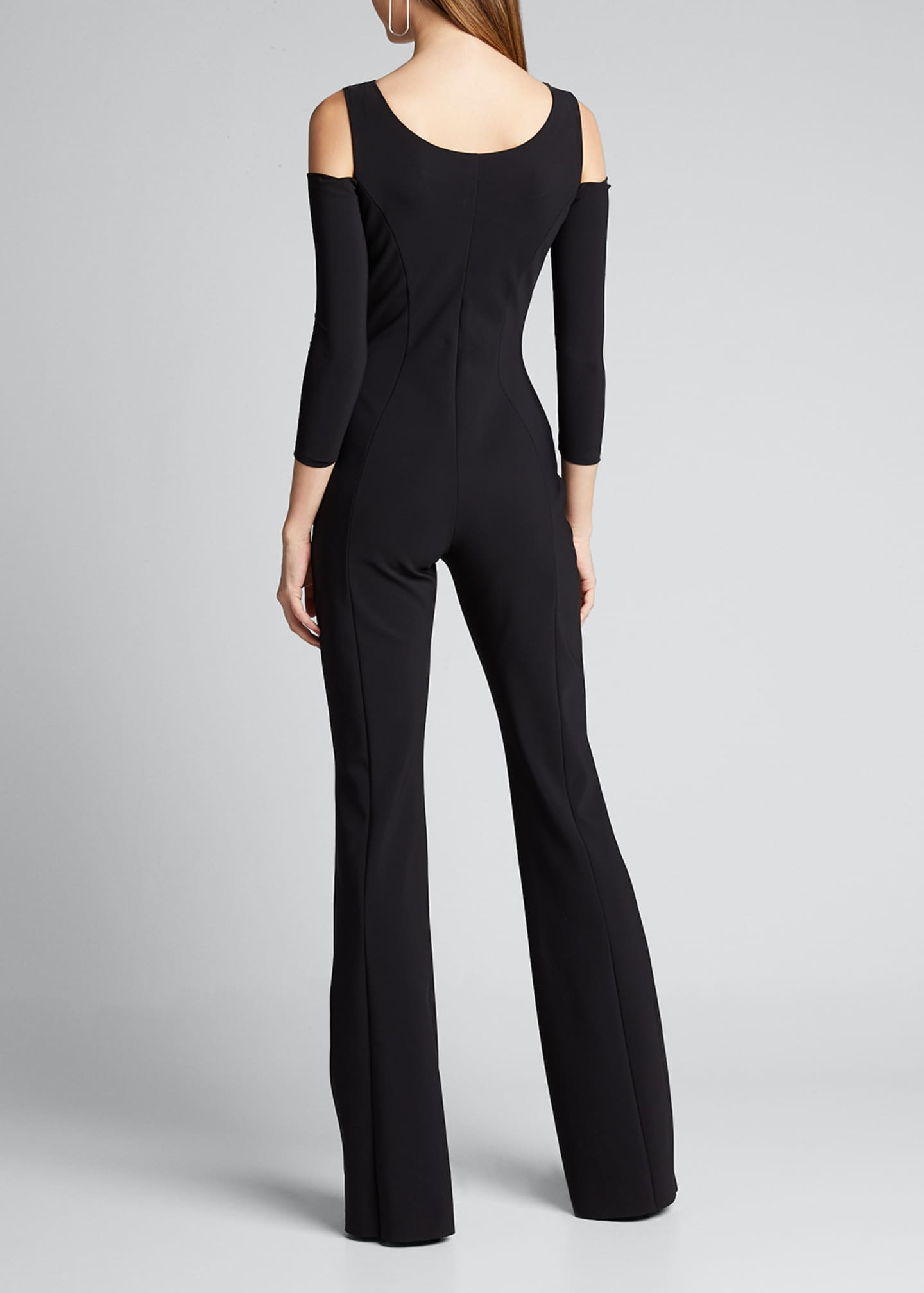Image 2 of 5: Cold Shoulder Long-Sleeve Jumpsuit