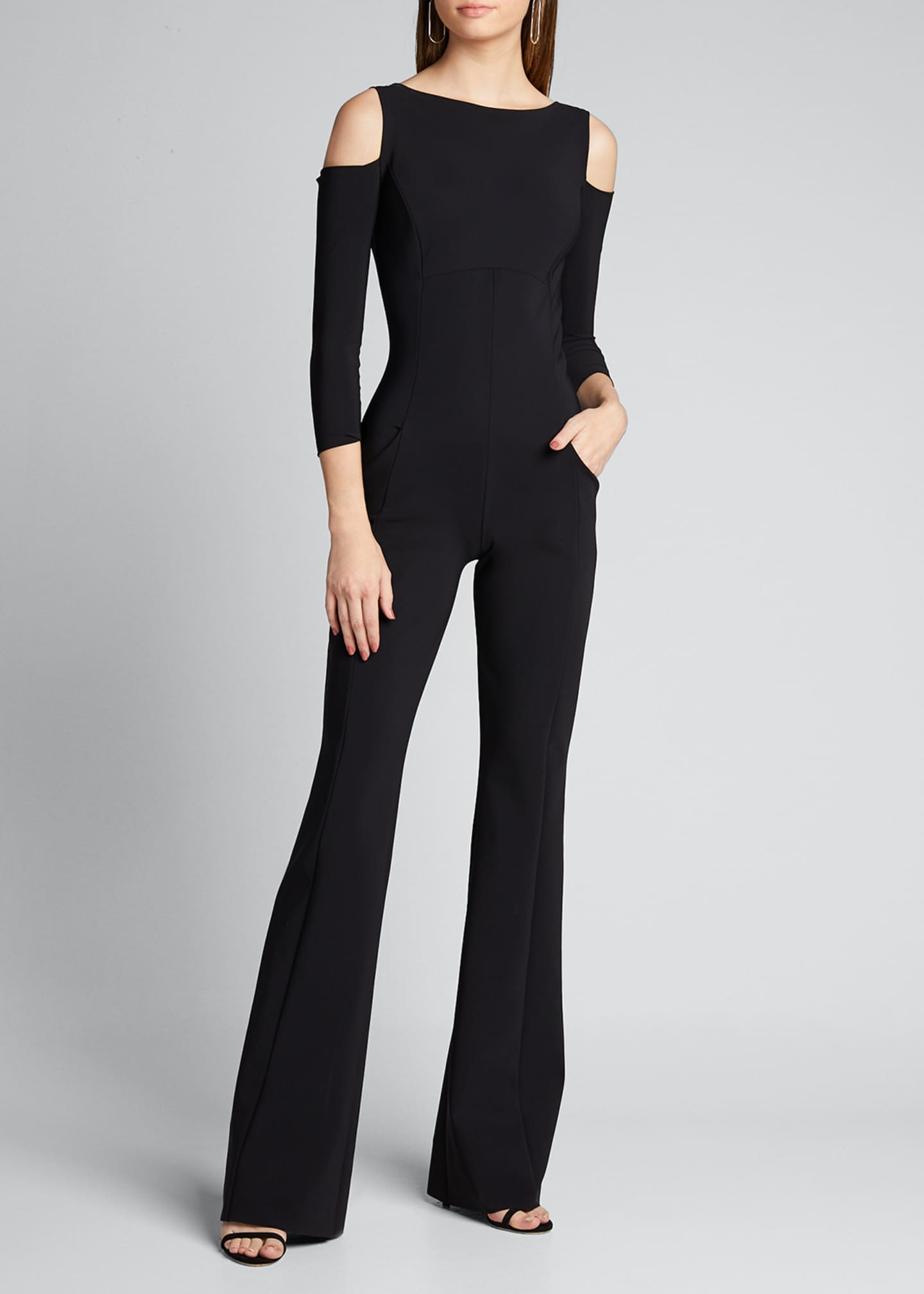 Image 3 of 5: Cold Shoulder Long-Sleeve Jumpsuit