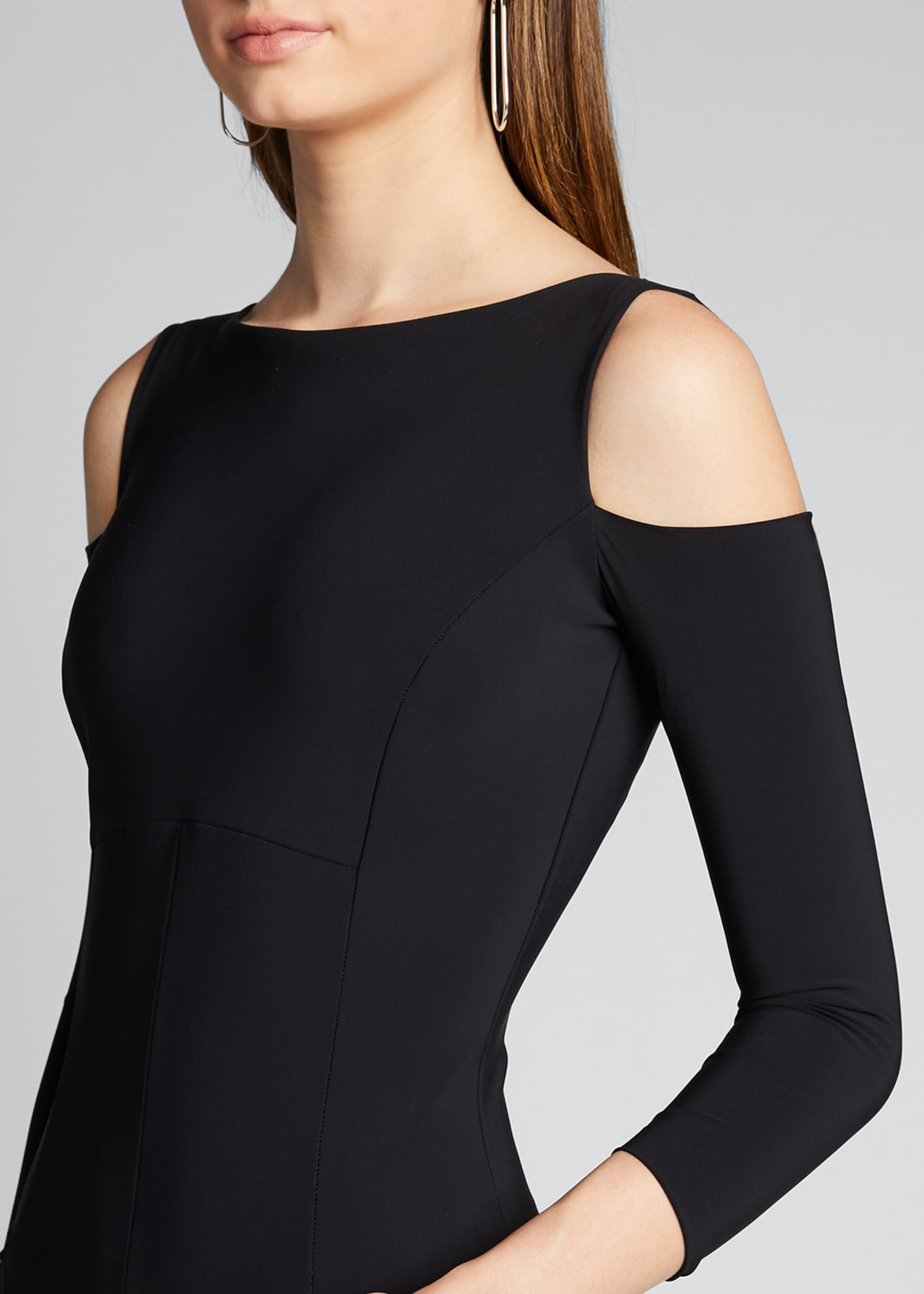 Image 4 of 5: Cold Shoulder Long-Sleeve Jumpsuit