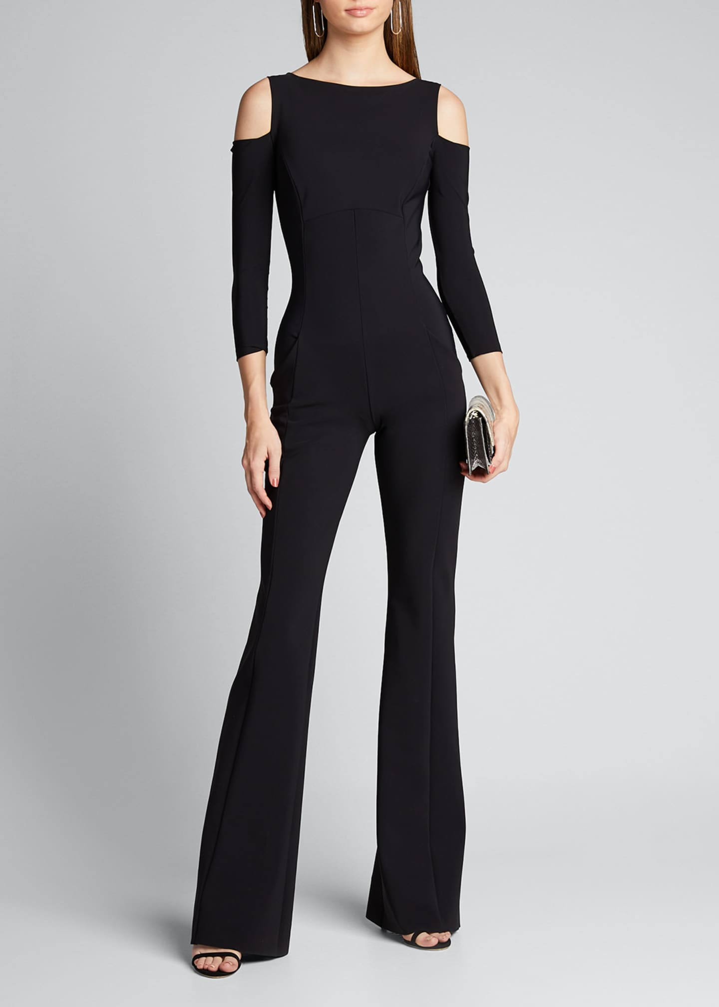 Image 1 of 5: Cold Shoulder Long-Sleeve Jumpsuit