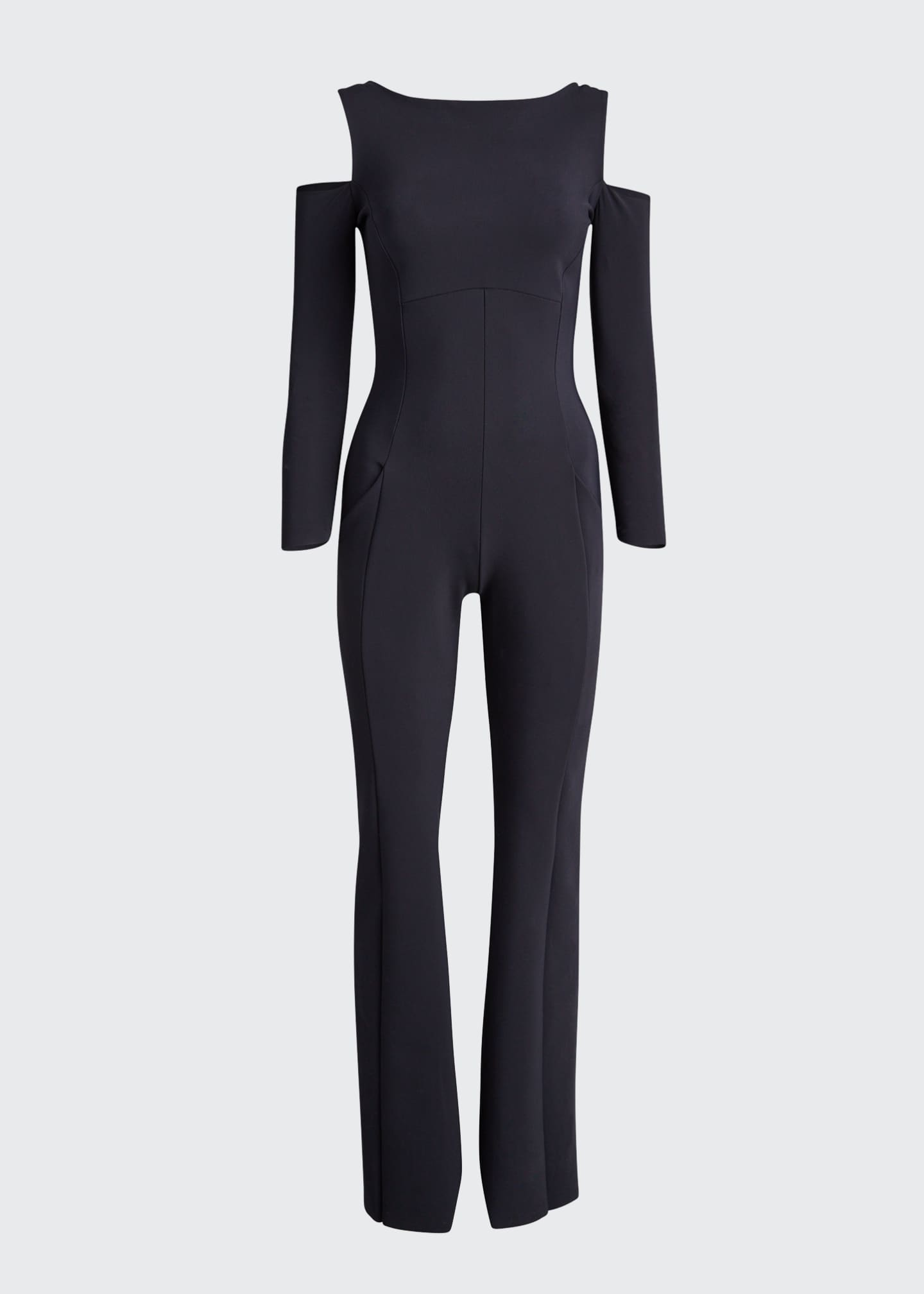 Image 5 of 5: Cold Shoulder Long-Sleeve Jumpsuit