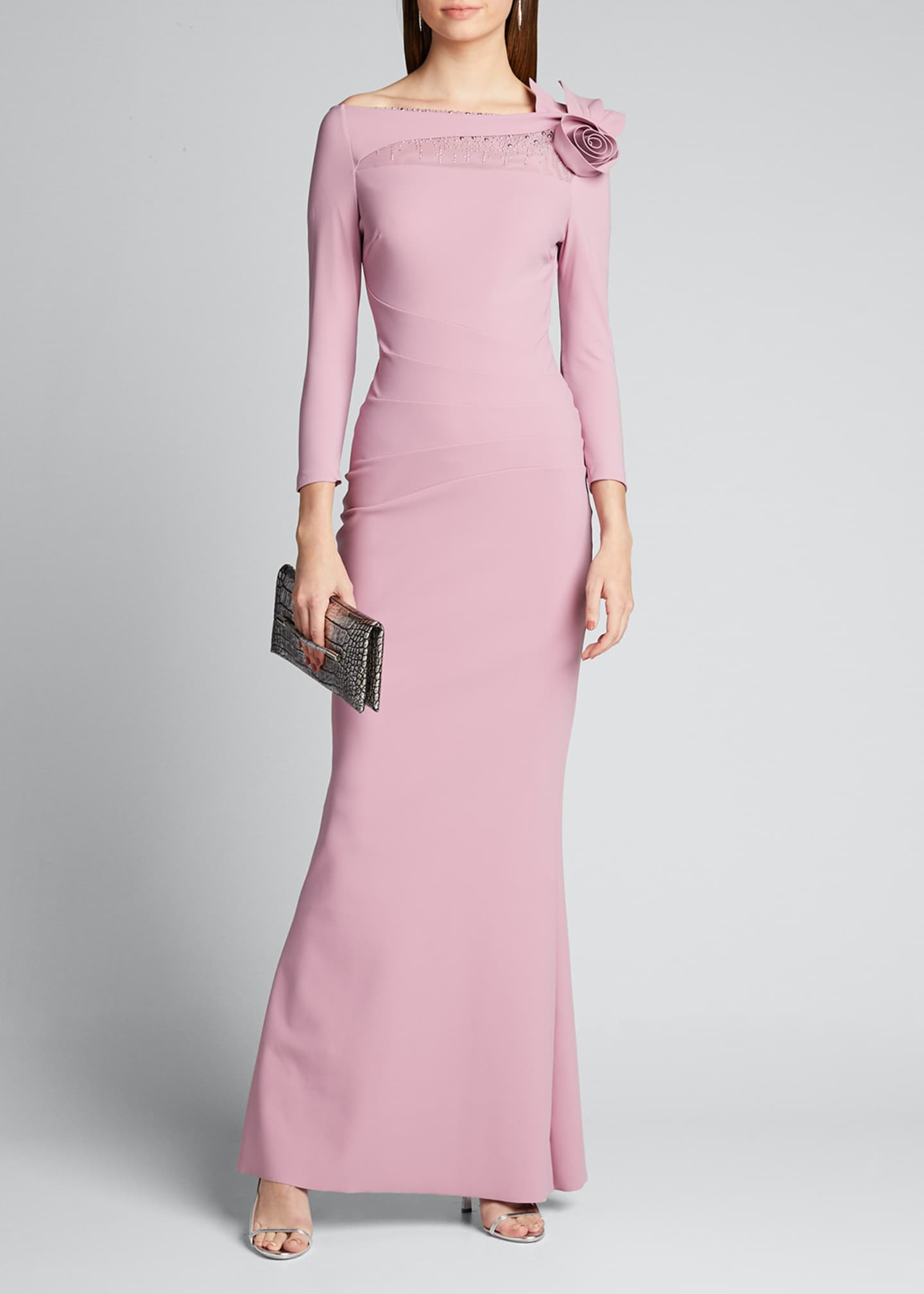 Chiara Boni La Petite Robe High-Neck 3/4-Sleeve Gown