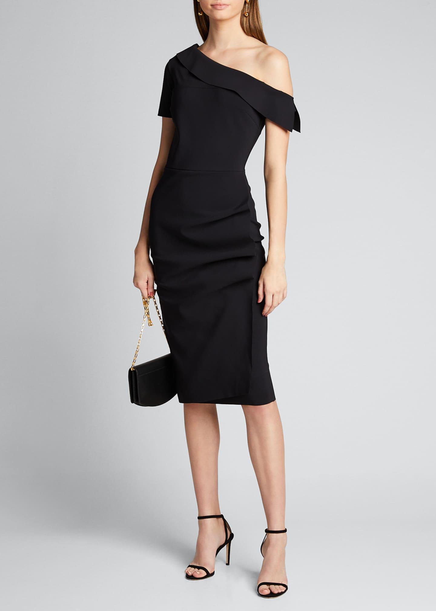 Chiara Boni La Petite Robe Asymmetric Shoulder Ruffle