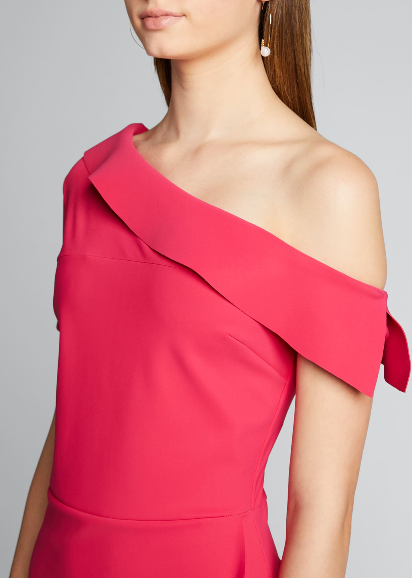 Image 4 of 5: Asymmetric Shoulder Ruffle Skirt Dress