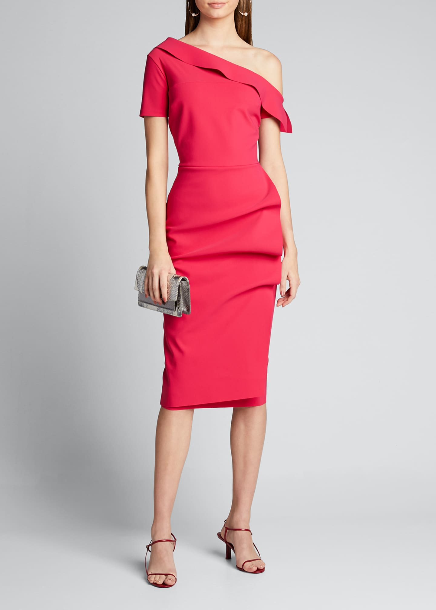 Image 1 of 5: Asymmetric Shoulder Ruffle Skirt Dress