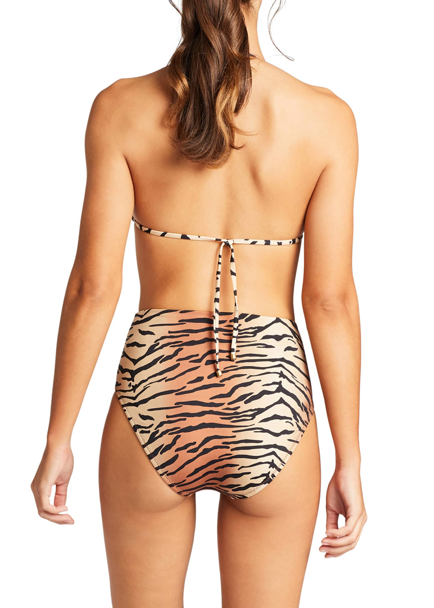 Image 2 of 2: Barcelona Tiger Print Full Bikini Swim Bottoms