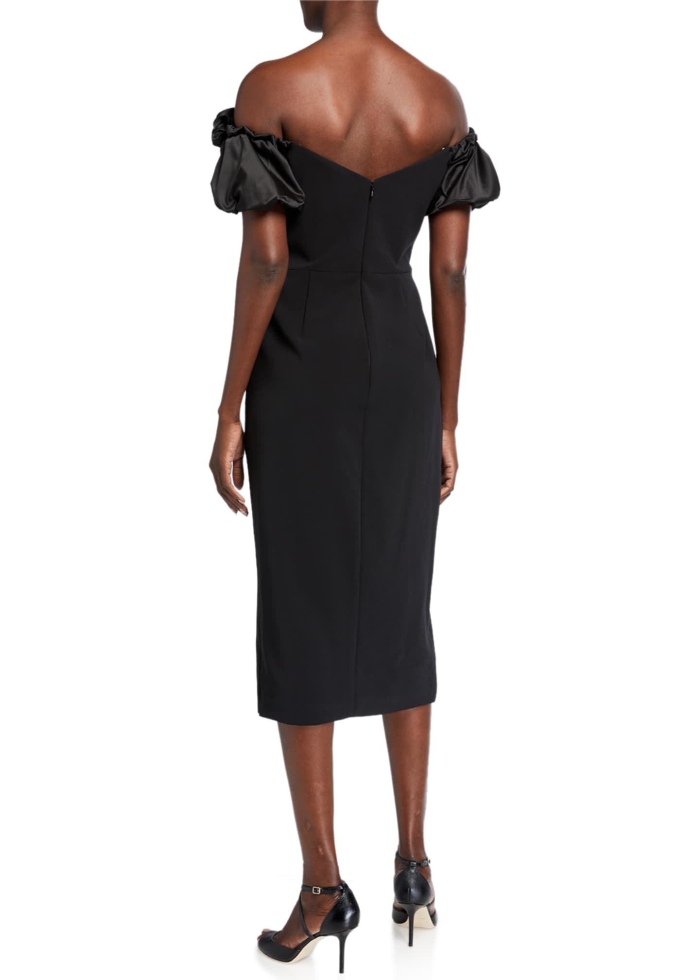 Image 2 of 2: Off-the-Shoulder Satin Puff-Sleeve Stretch Crepe Dress