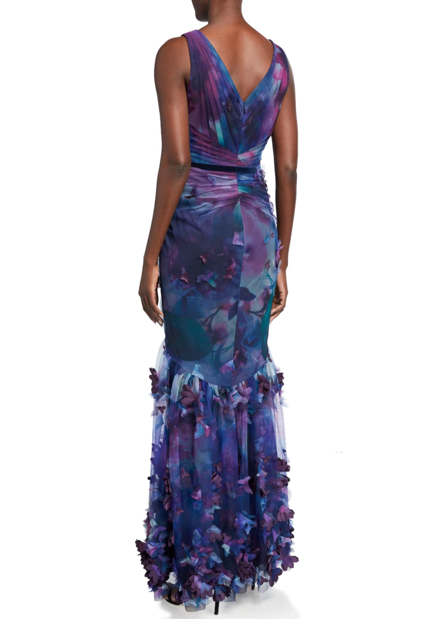 Image 2 of 2: Sleeveless Printed Tulle Fit-&-Flare Gown w/ 3D Flowers