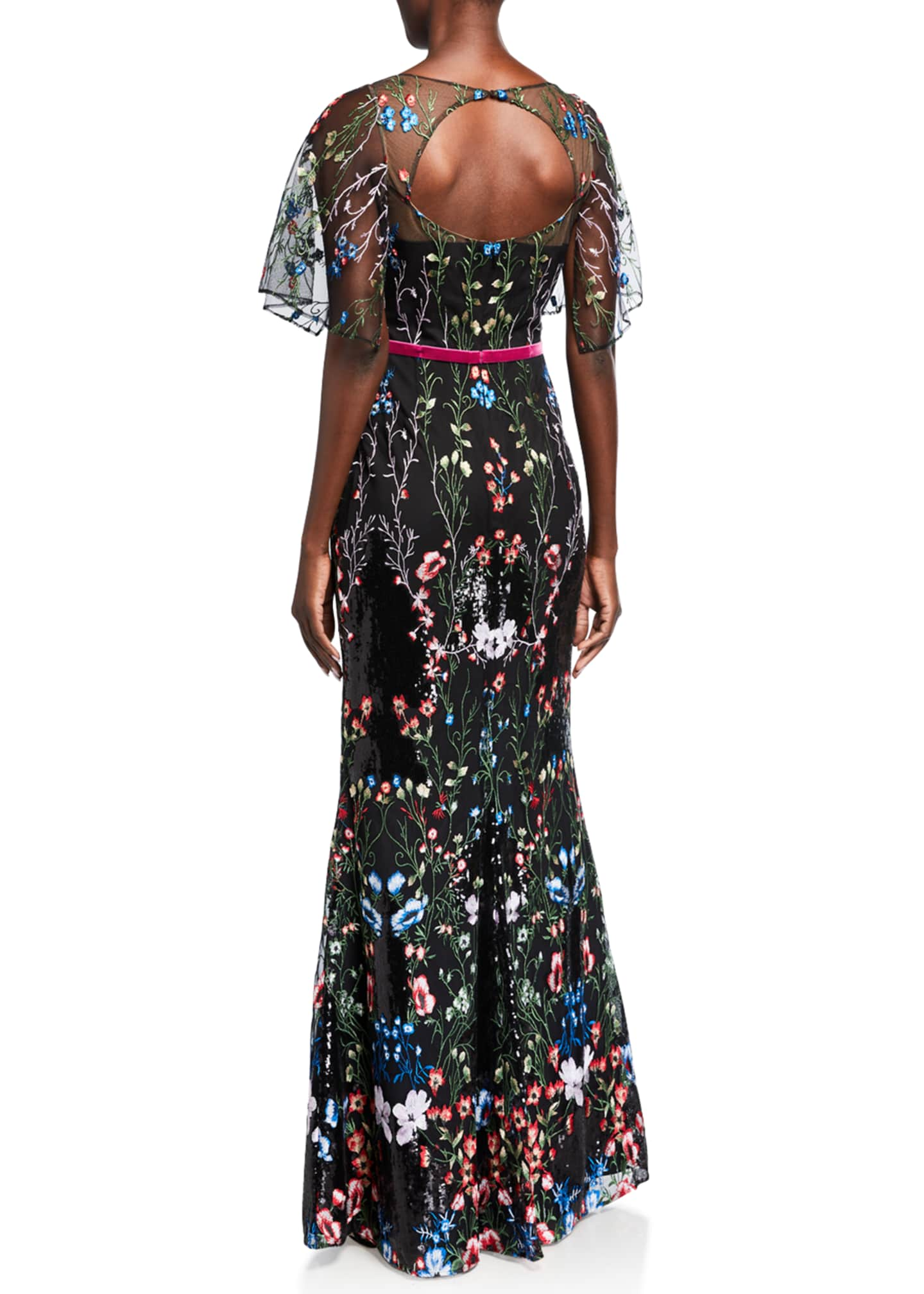 Image 2 of 2: Cape-Sleeve Multicolor Sequin Embroidered Gown