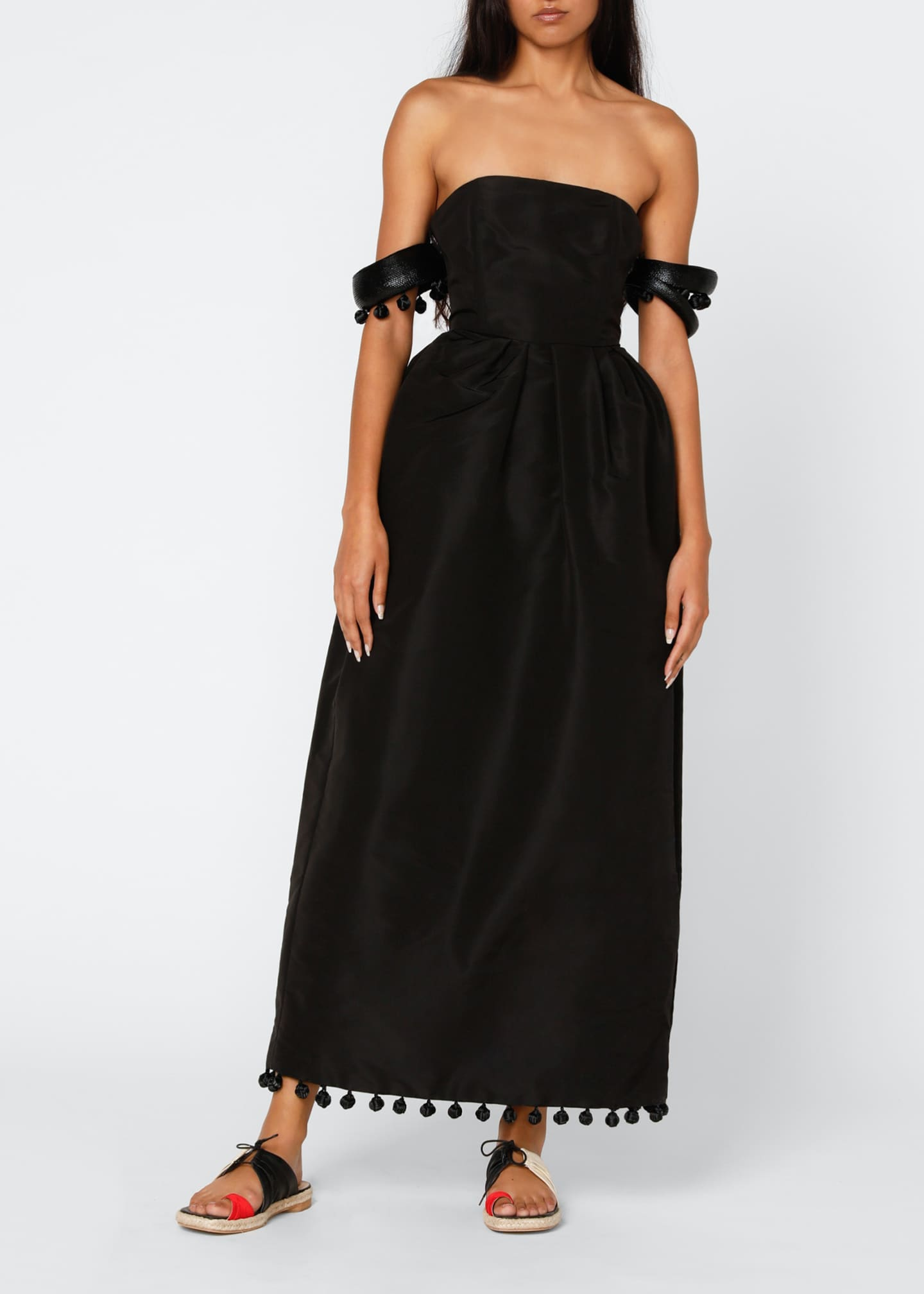 Image 1 of 4: Silk Off-the-Shoulder Dress with Bangle Sleeves