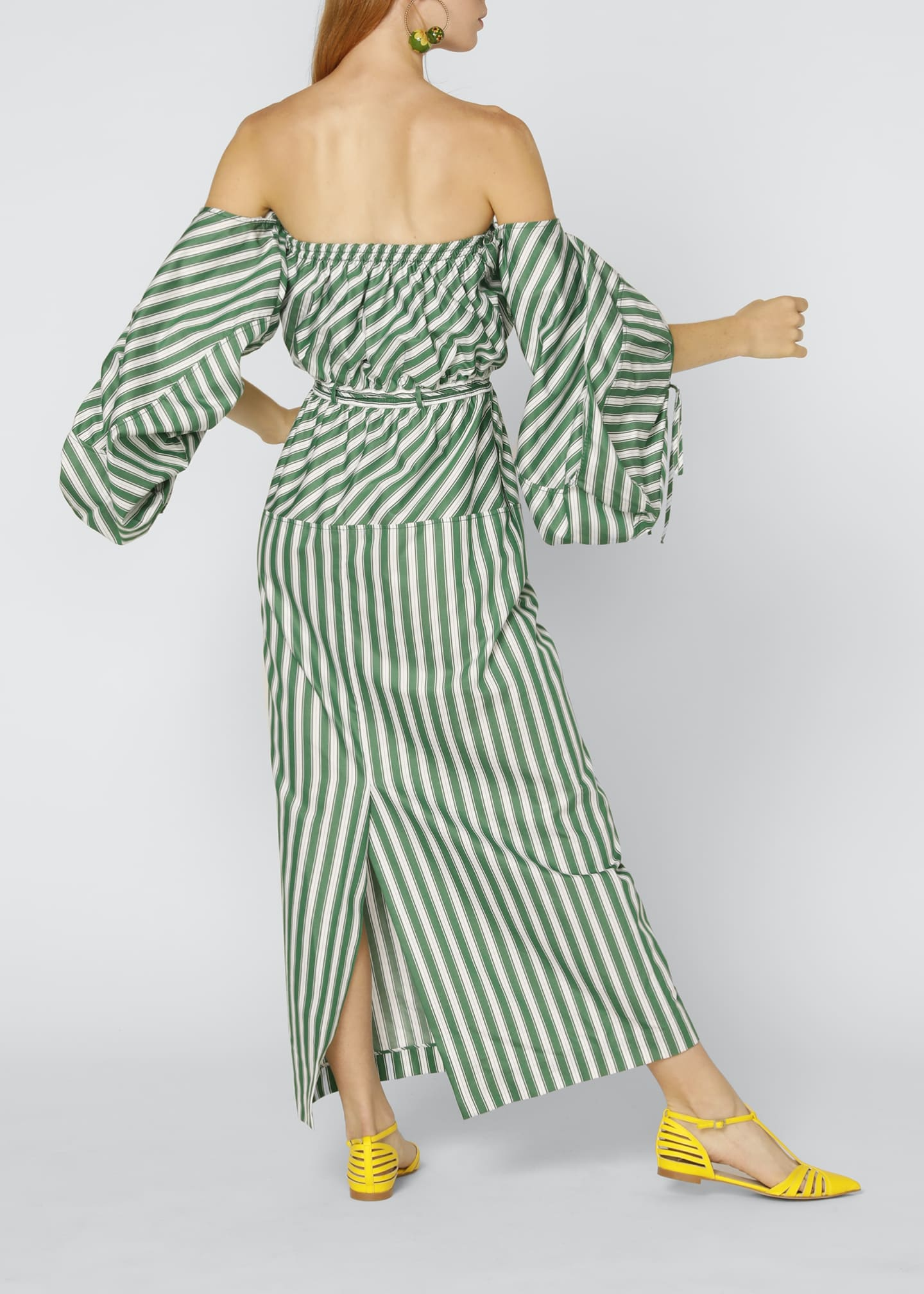 Image 2 of 4: Strapless Balloon-Sleeve Striped Cocktail Dress