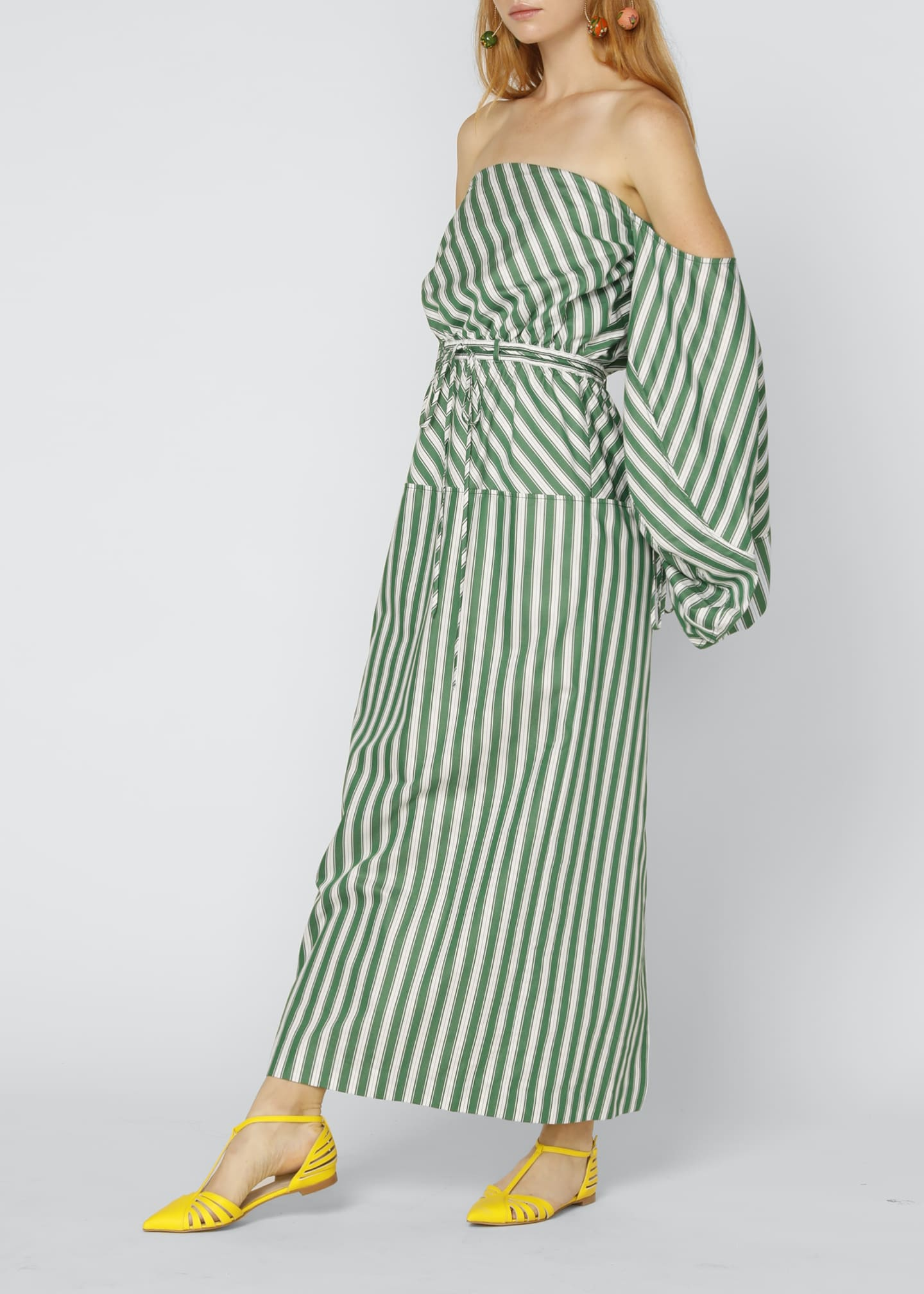 Image 3 of 4: Strapless Balloon-Sleeve Striped Cocktail Dress