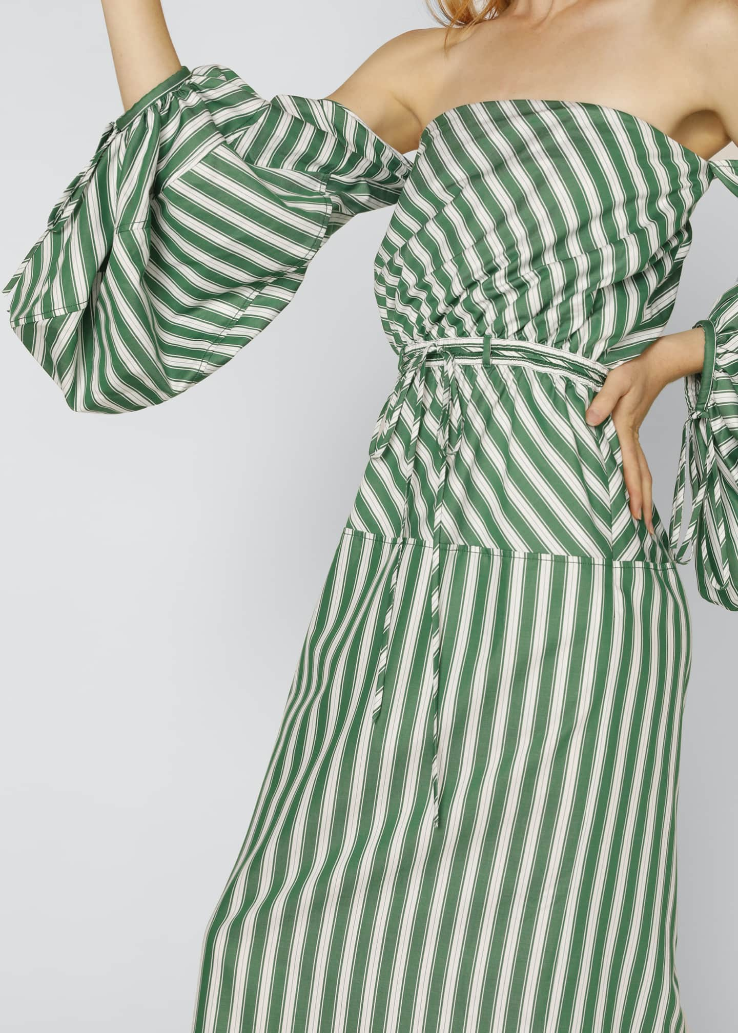 Image 4 of 4: Strapless Balloon-Sleeve Striped Cocktail Dress