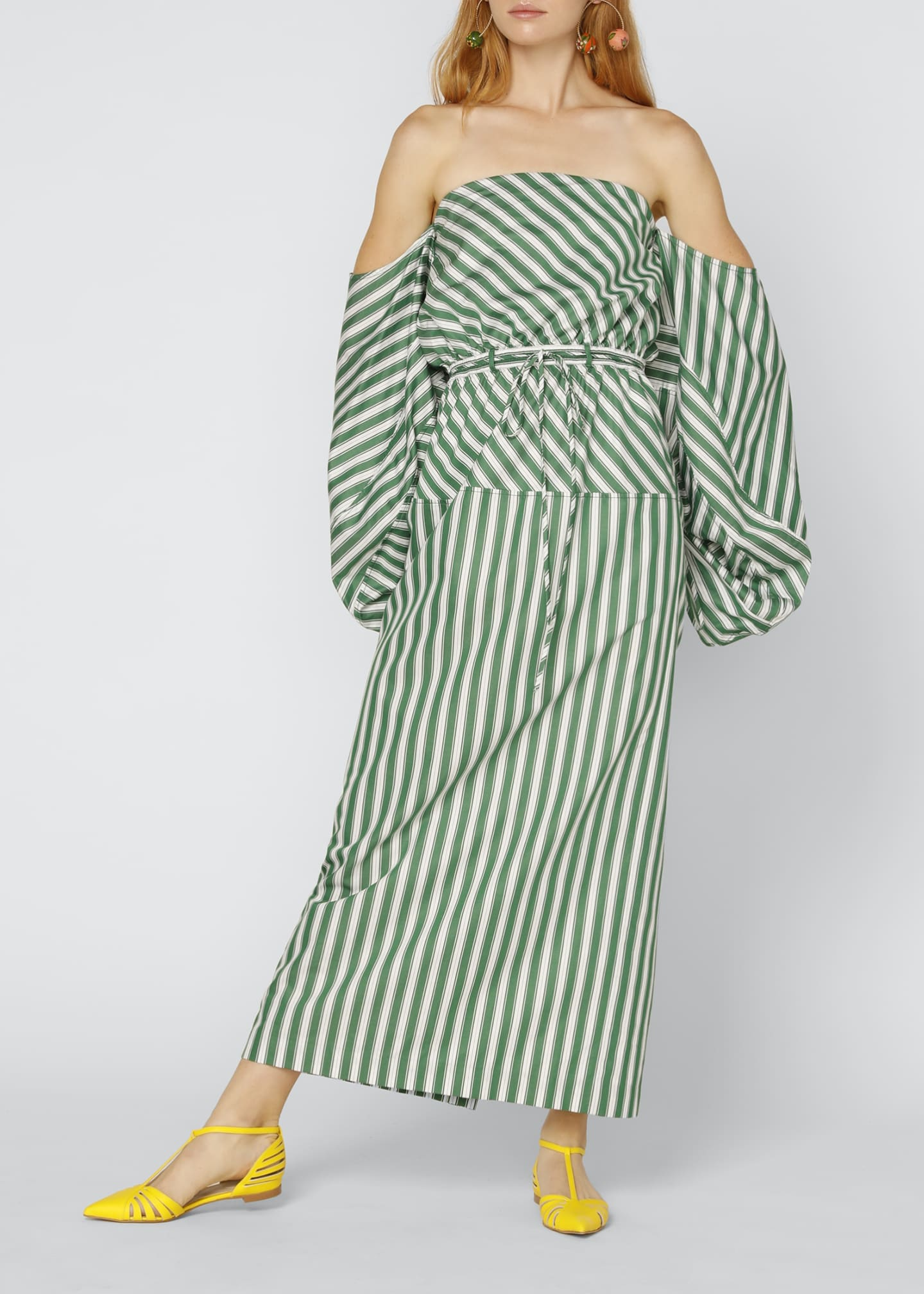 Image 1 of 4: Strapless Balloon-Sleeve Striped Cocktail Dress