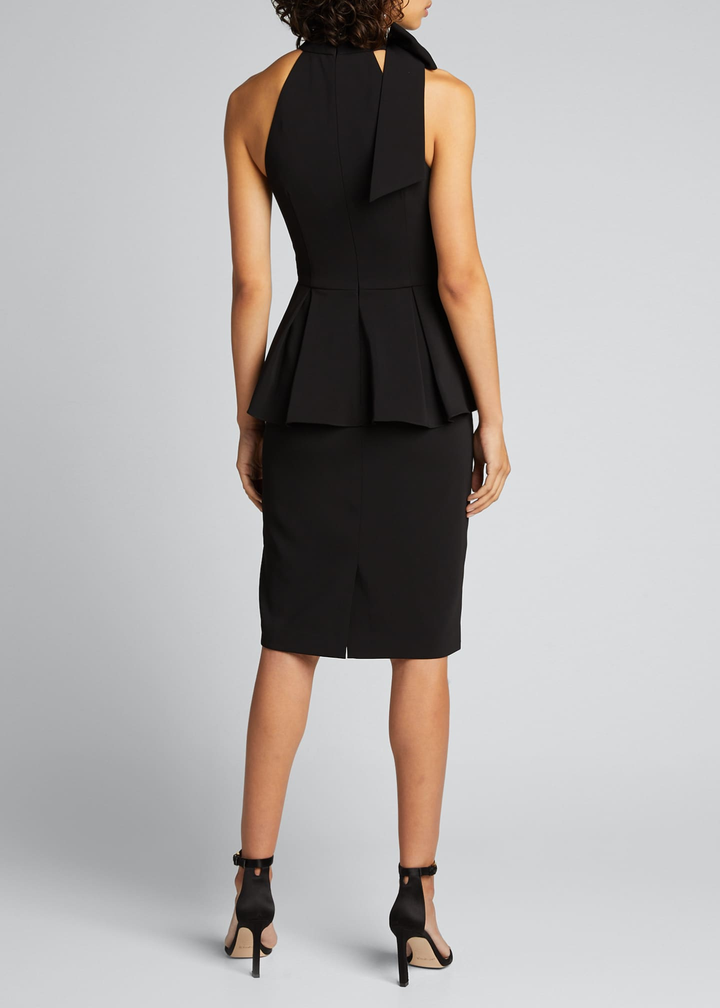 Image 2 of 5: Bow-Neck Crepe Jersey Peplum Halter Dress