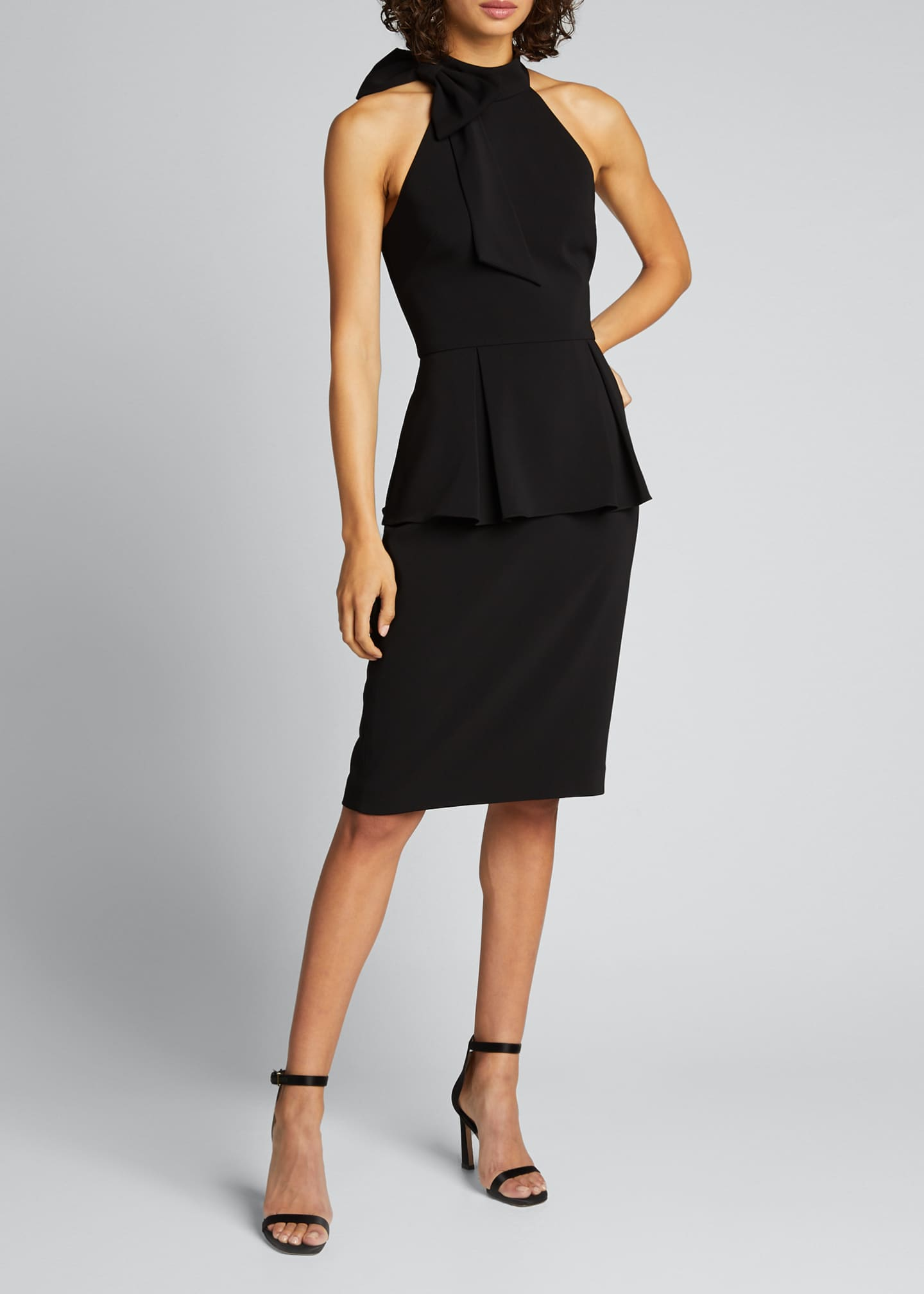 Image 3 of 5: Bow-Neck Crepe Jersey Peplum Halter Dress