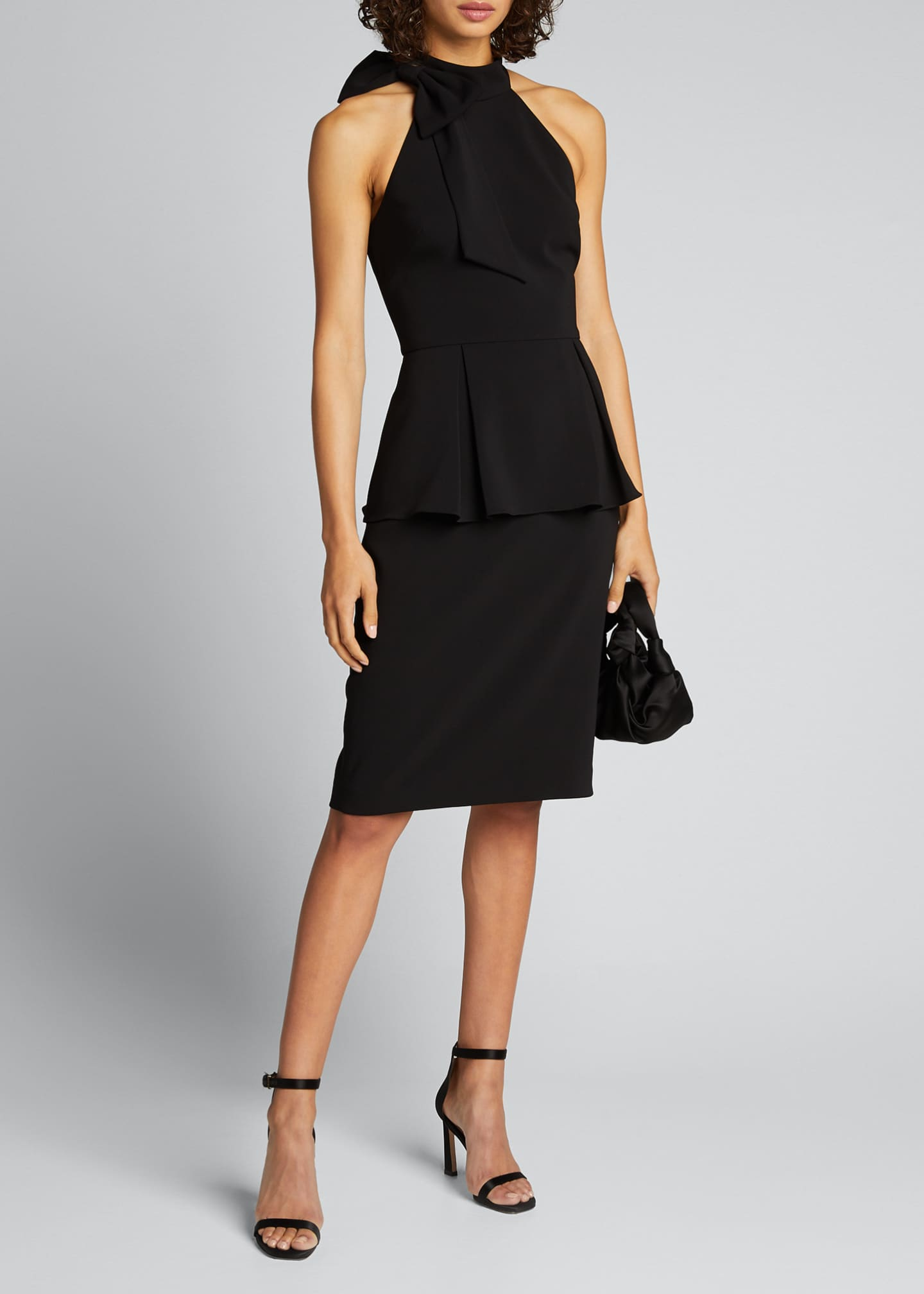 Image 1 of 5: Bow-Neck Crepe Jersey Peplum Halter Dress