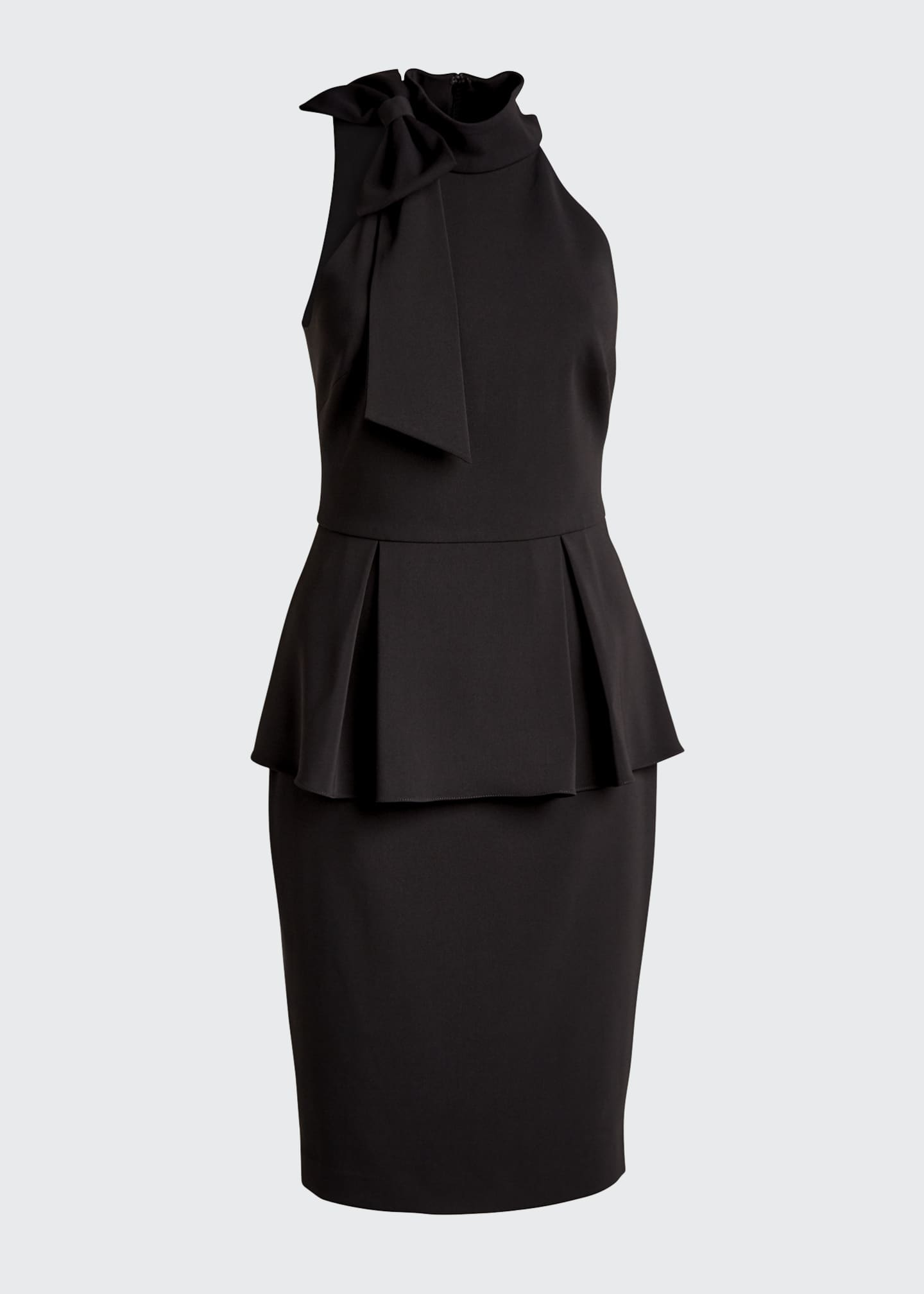 Image 5 of 5: Bow-Neck Crepe Jersey Peplum Halter Dress