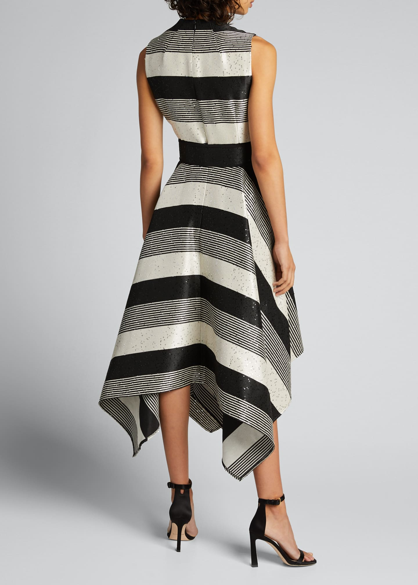 Image 2 of 5: Sequin Striped Deep V-Neck Belted Handkerchief Dress