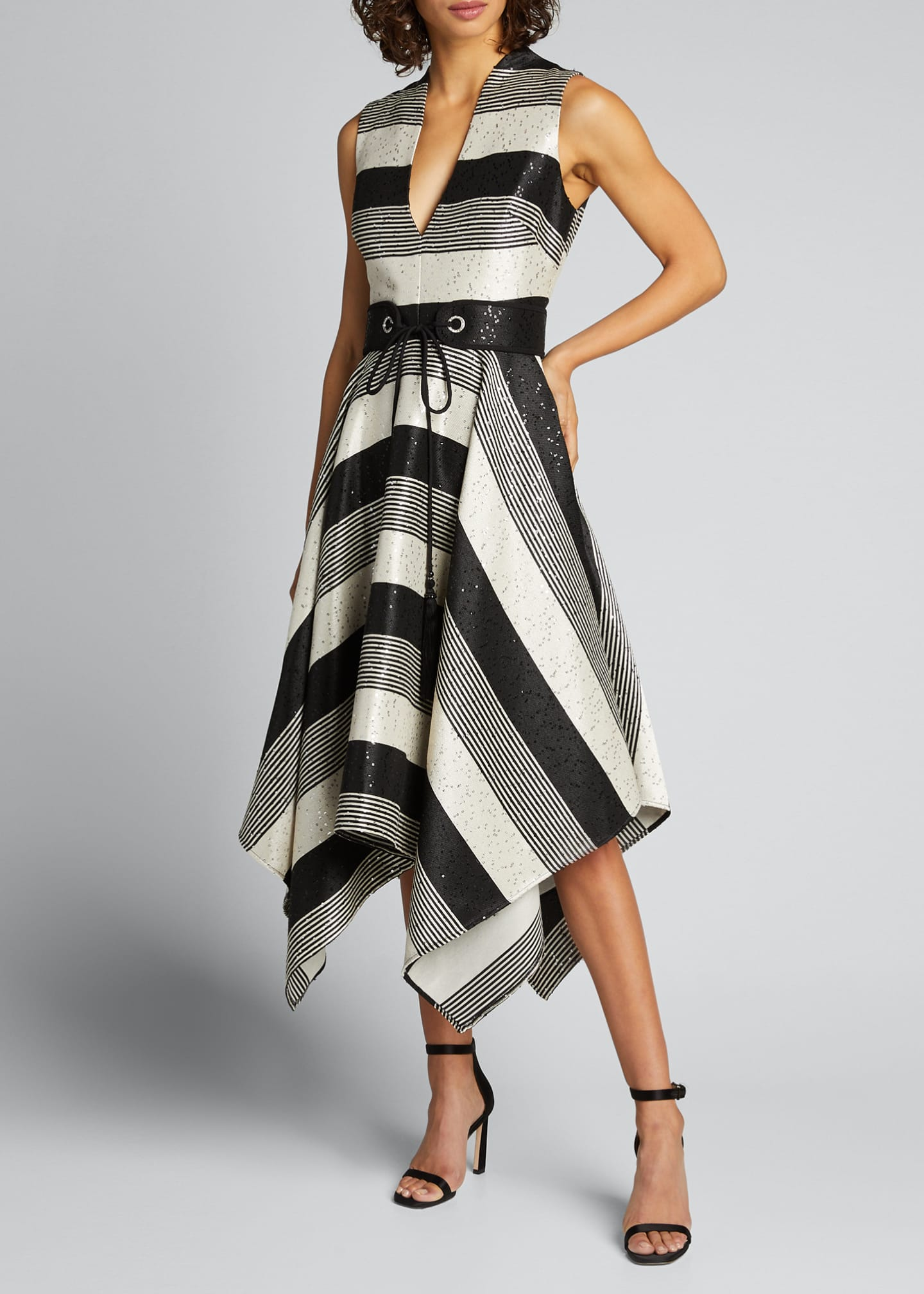 Image 3 of 5: Sequin Striped Deep V-Neck Belted Handkerchief Dress