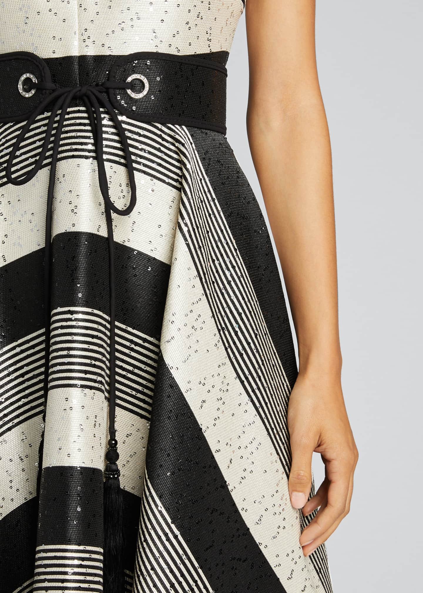 Image 4 of 5: Sequin Striped Deep V-Neck Belted Handkerchief Dress