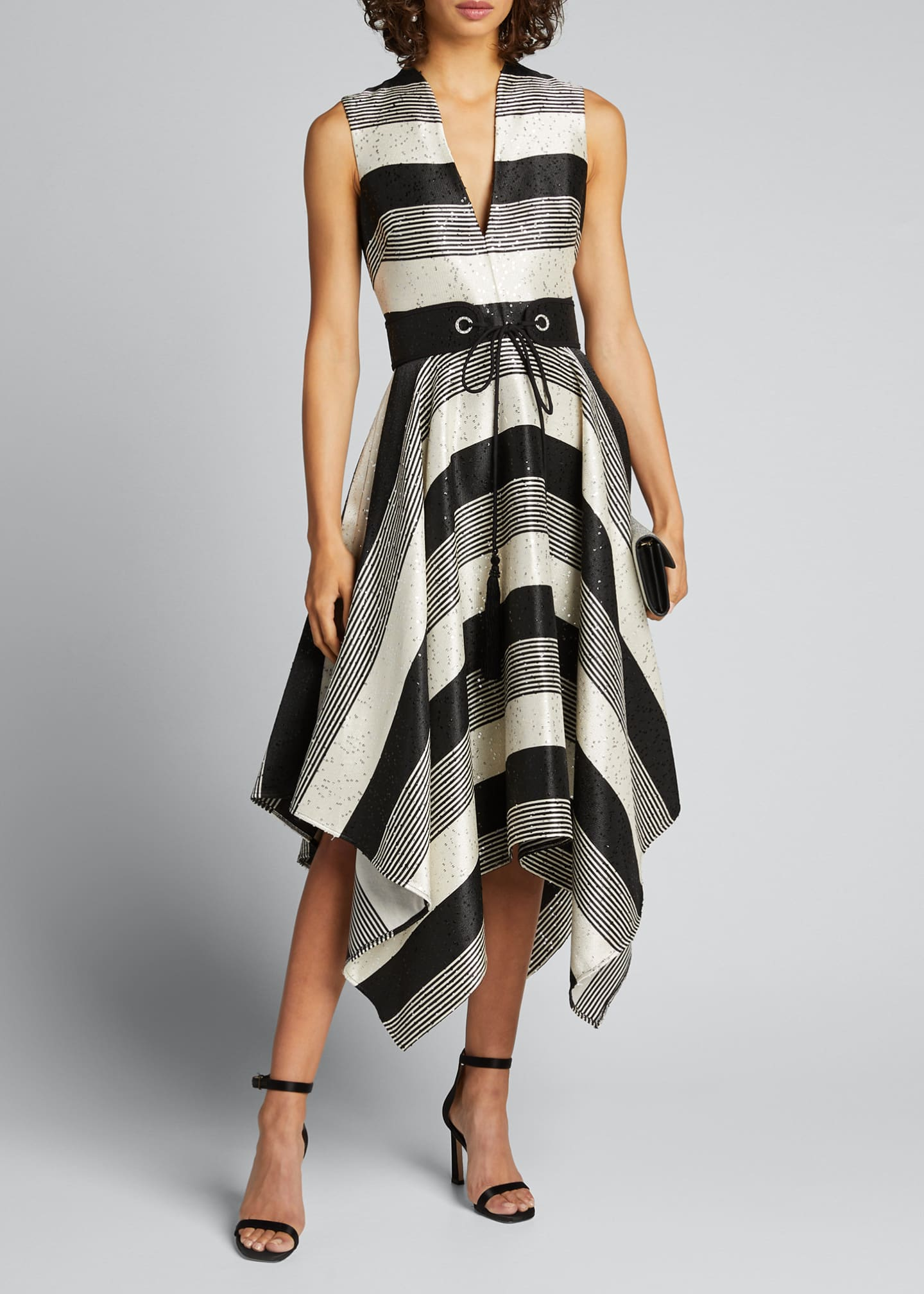 Image 1 of 5: Sequin Striped Deep V-Neck Belted Handkerchief Dress