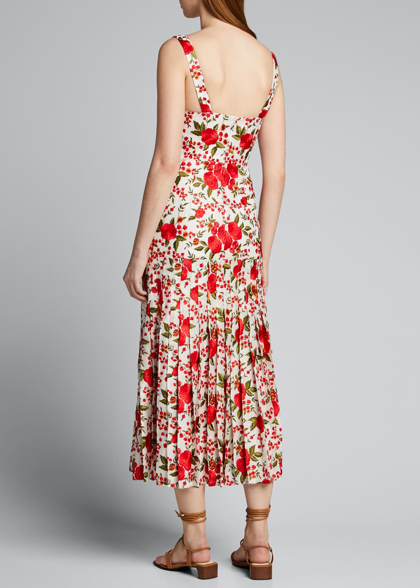 Image 2 of 5: Amal Pleated Rose-Print Sleeveless Dress