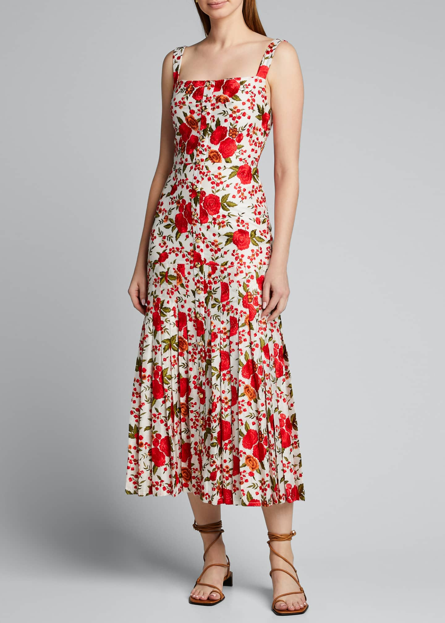 Image 3 of 5: Amal Pleated Rose-Print Sleeveless Dress