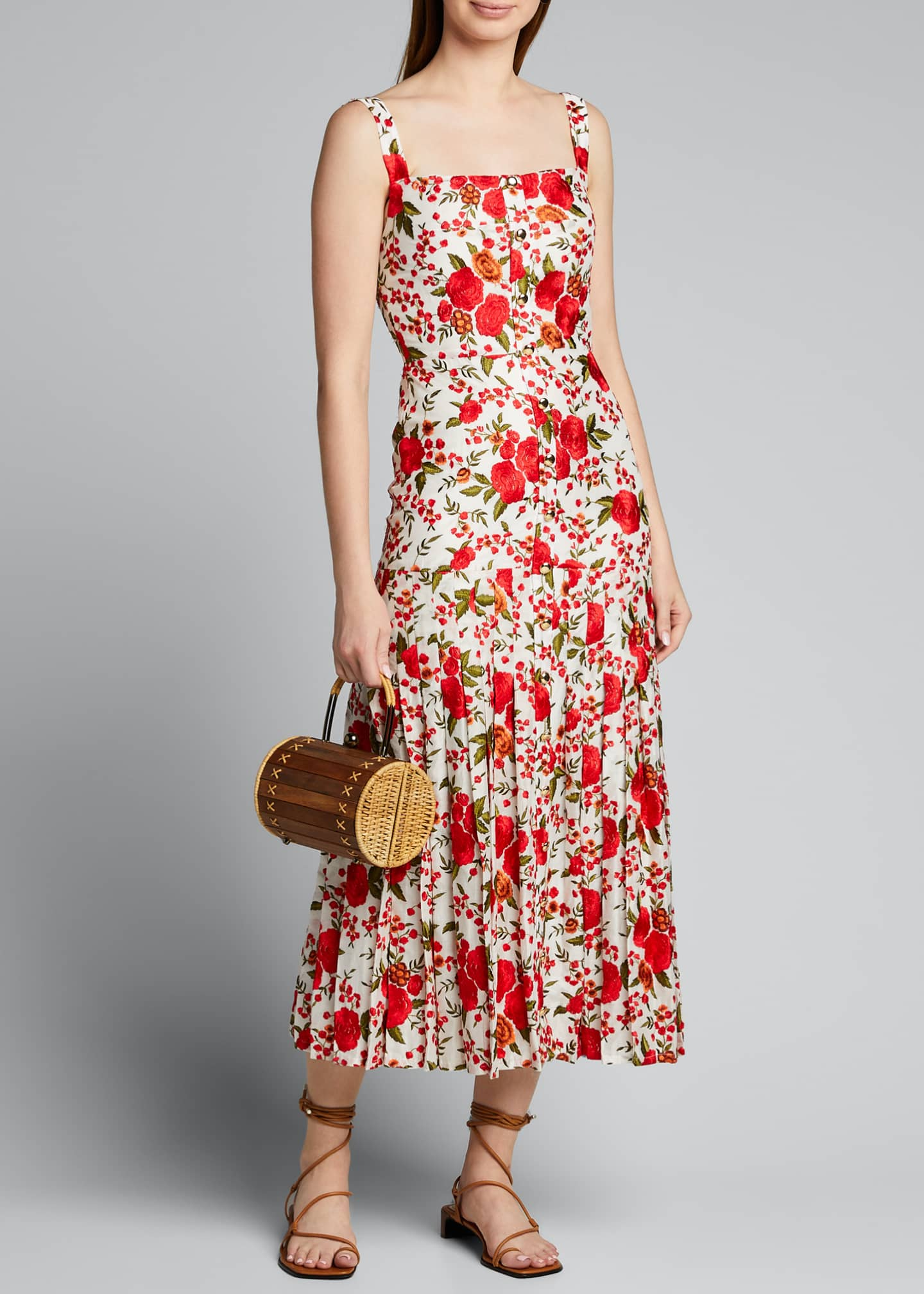 Image 1 of 5: Amal Pleated Rose-Print Sleeveless Dress