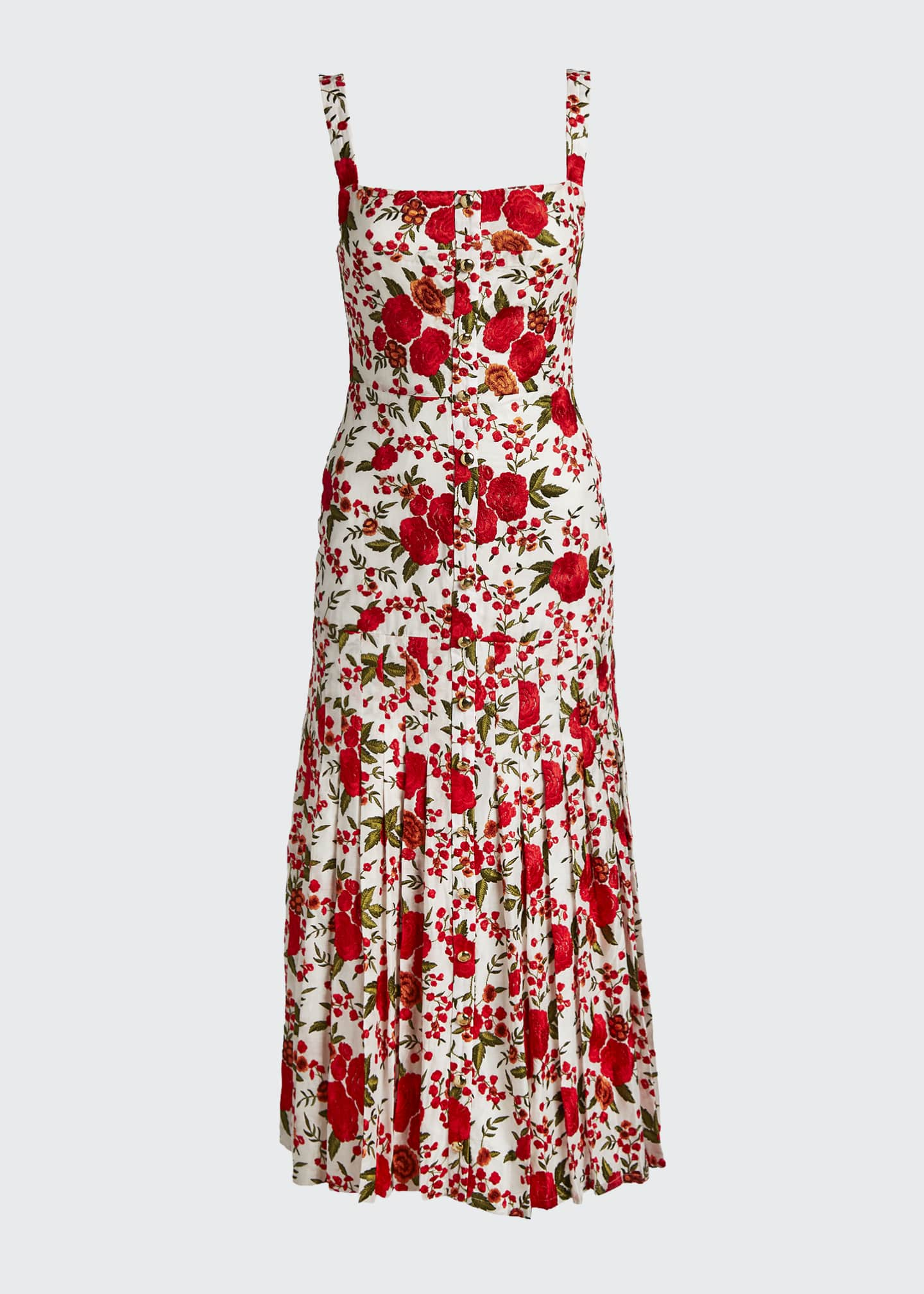 Image 5 of 5: Amal Pleated Rose-Print Sleeveless Dress