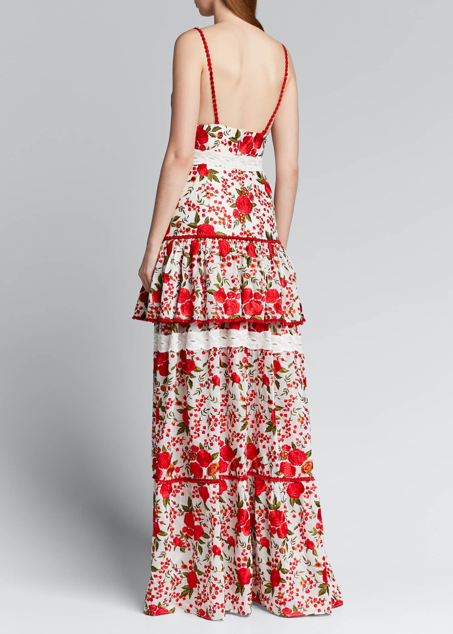 Image 2 of 5: Naomie Tiered Rose-Print Long Dress