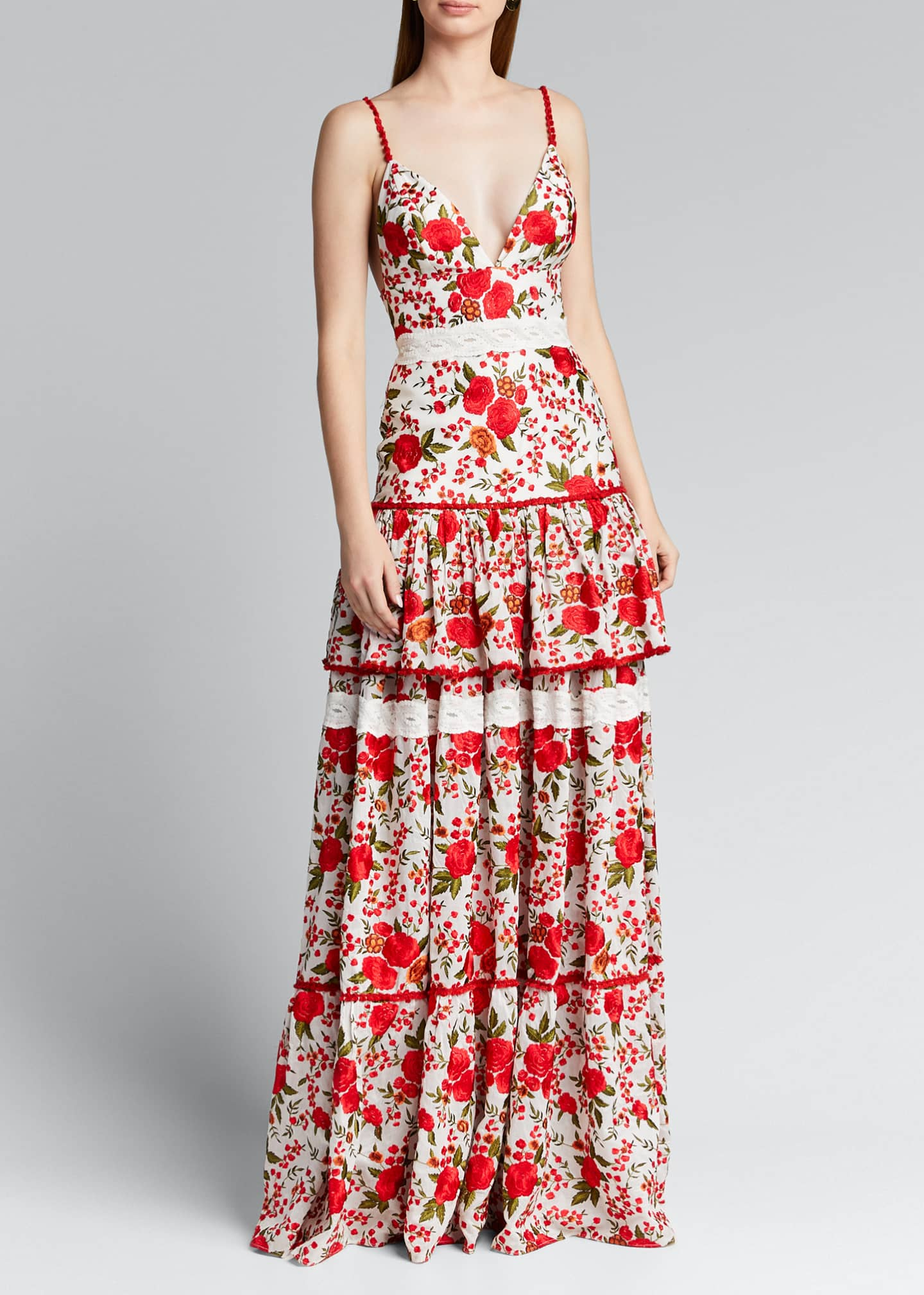 Image 3 of 5: Naomie Tiered Rose-Print Long Dress