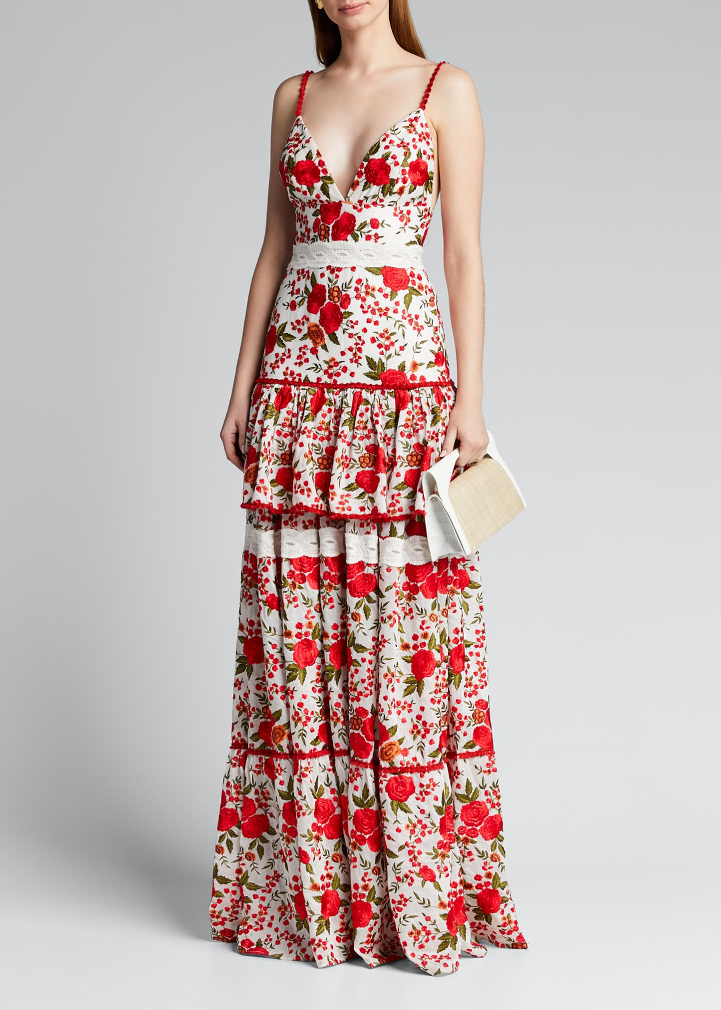 Image 1 of 5: Naomie Tiered Rose-Print Long Dress