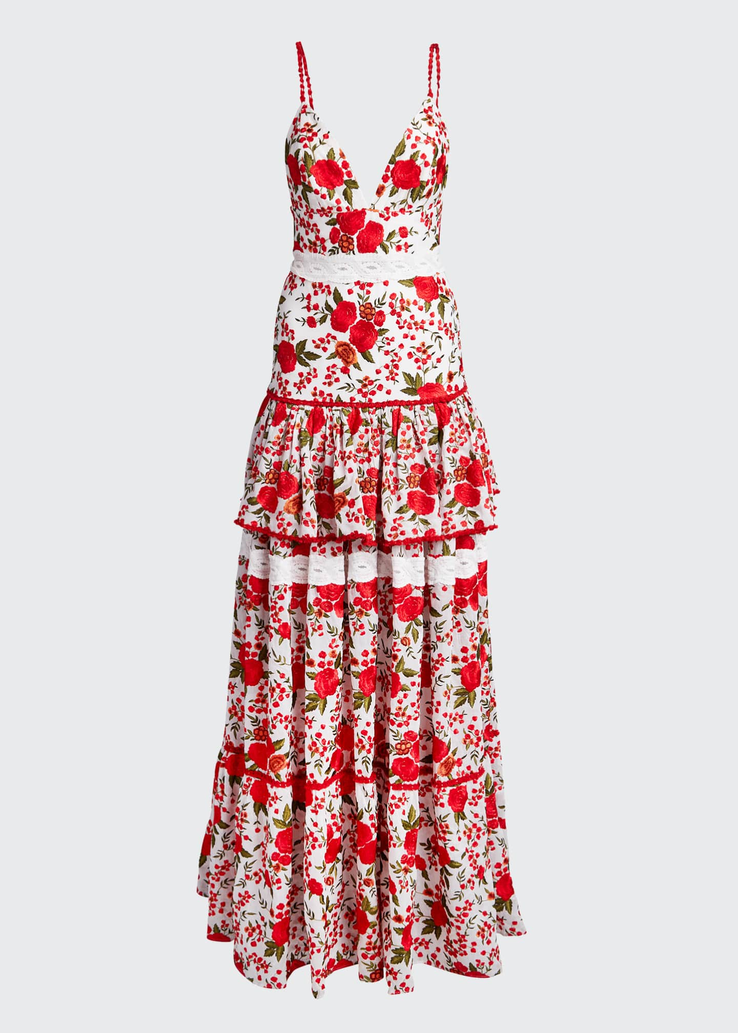 Image 5 of 5: Naomie Tiered Rose-Print Long Dress