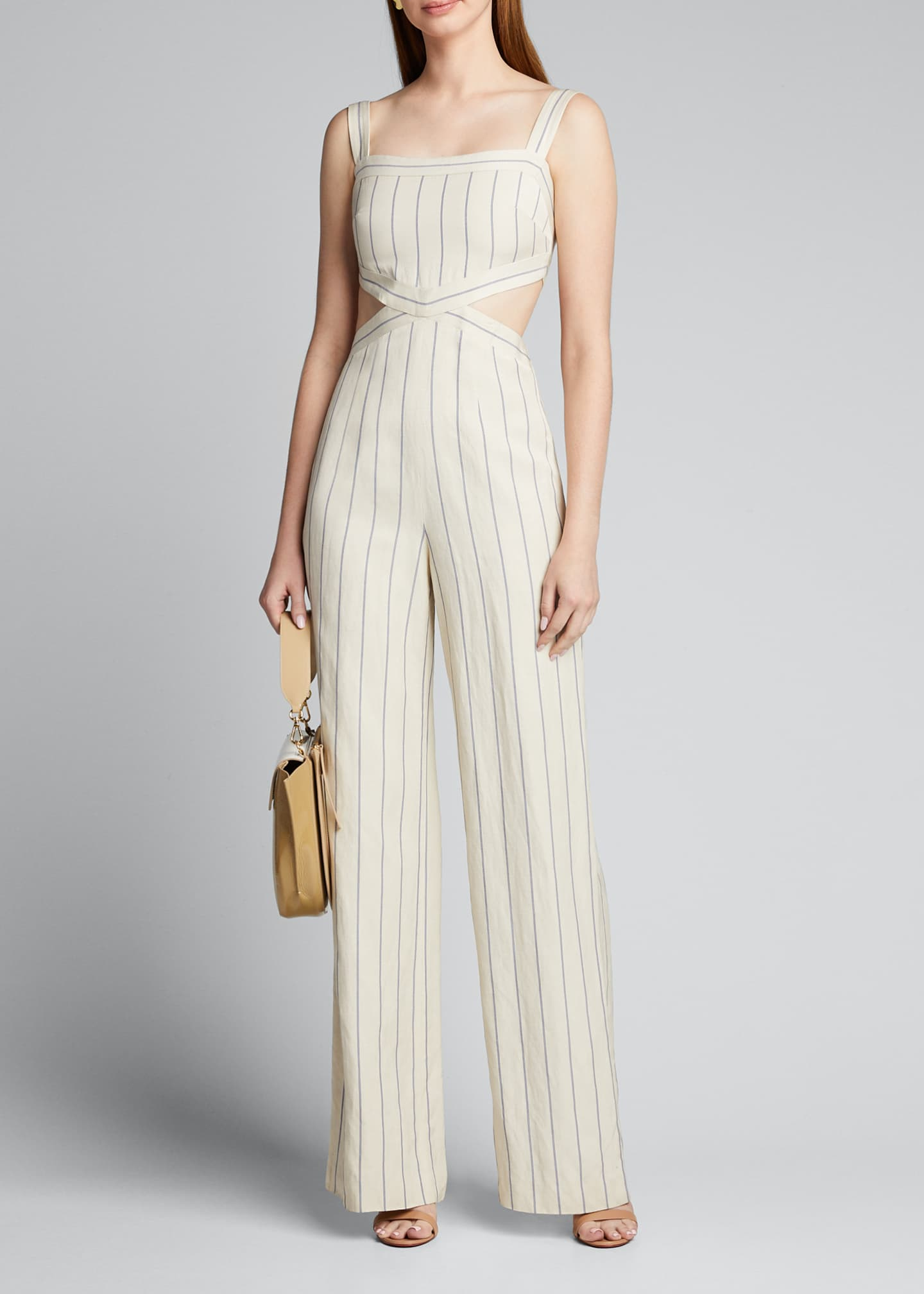 Image 1 of 5: Lipton Striped Cutout Jumpsuit