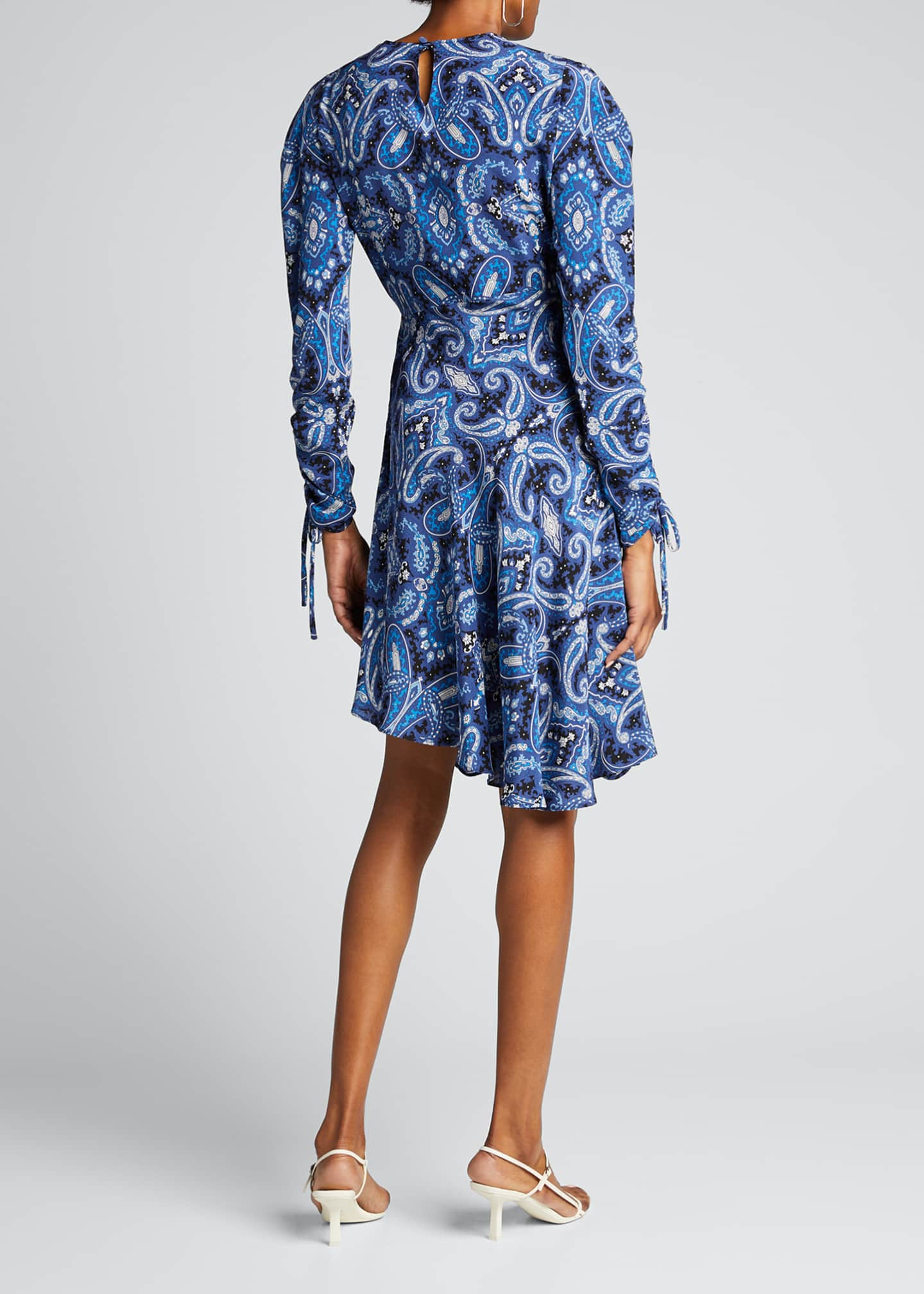Image 2 of 5: Blue Paisley Swirl Print Drawstring-Sleeve Dress