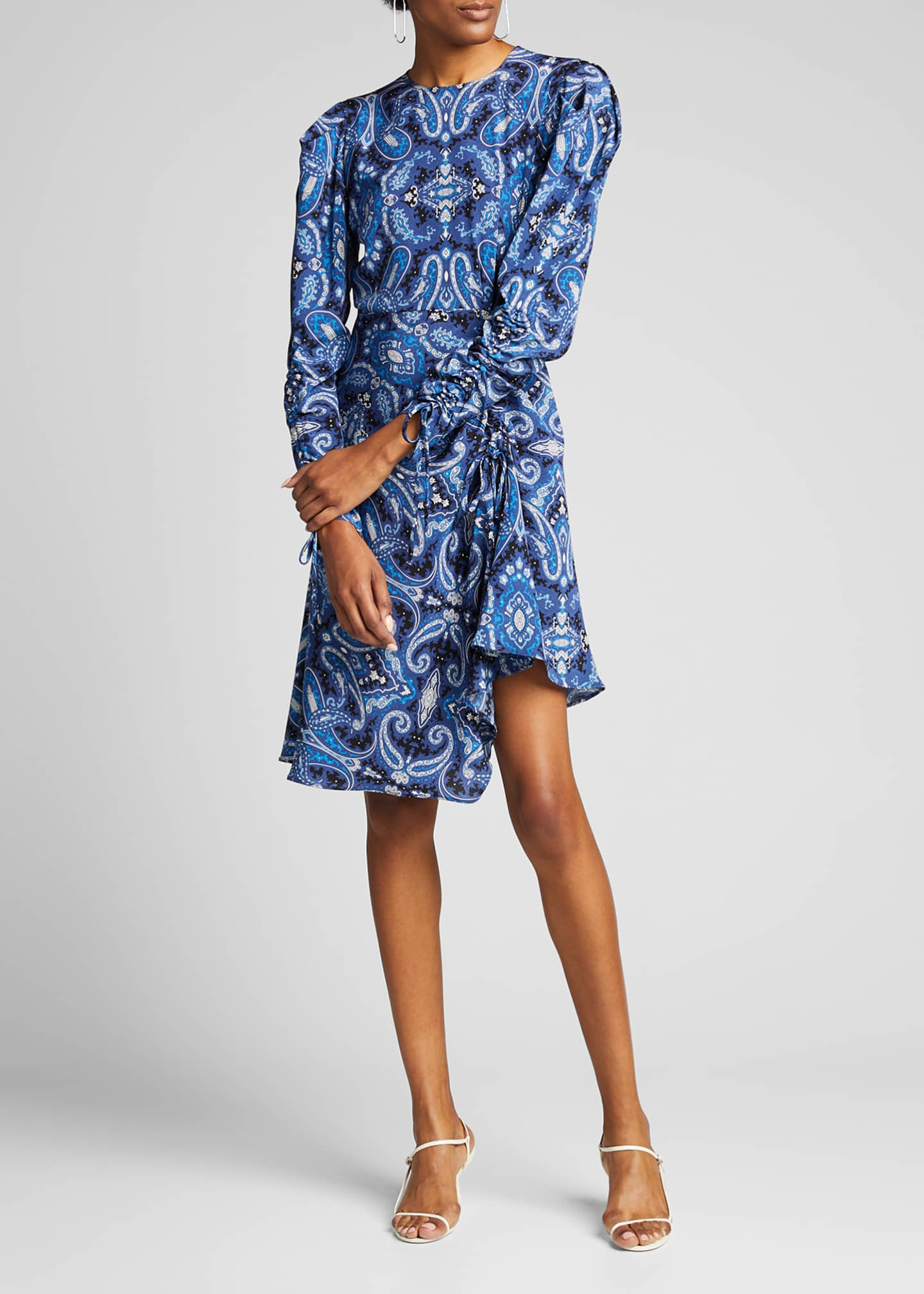 Image 3 of 5: Blue Paisley Swirl Print Drawstring-Sleeve Dress