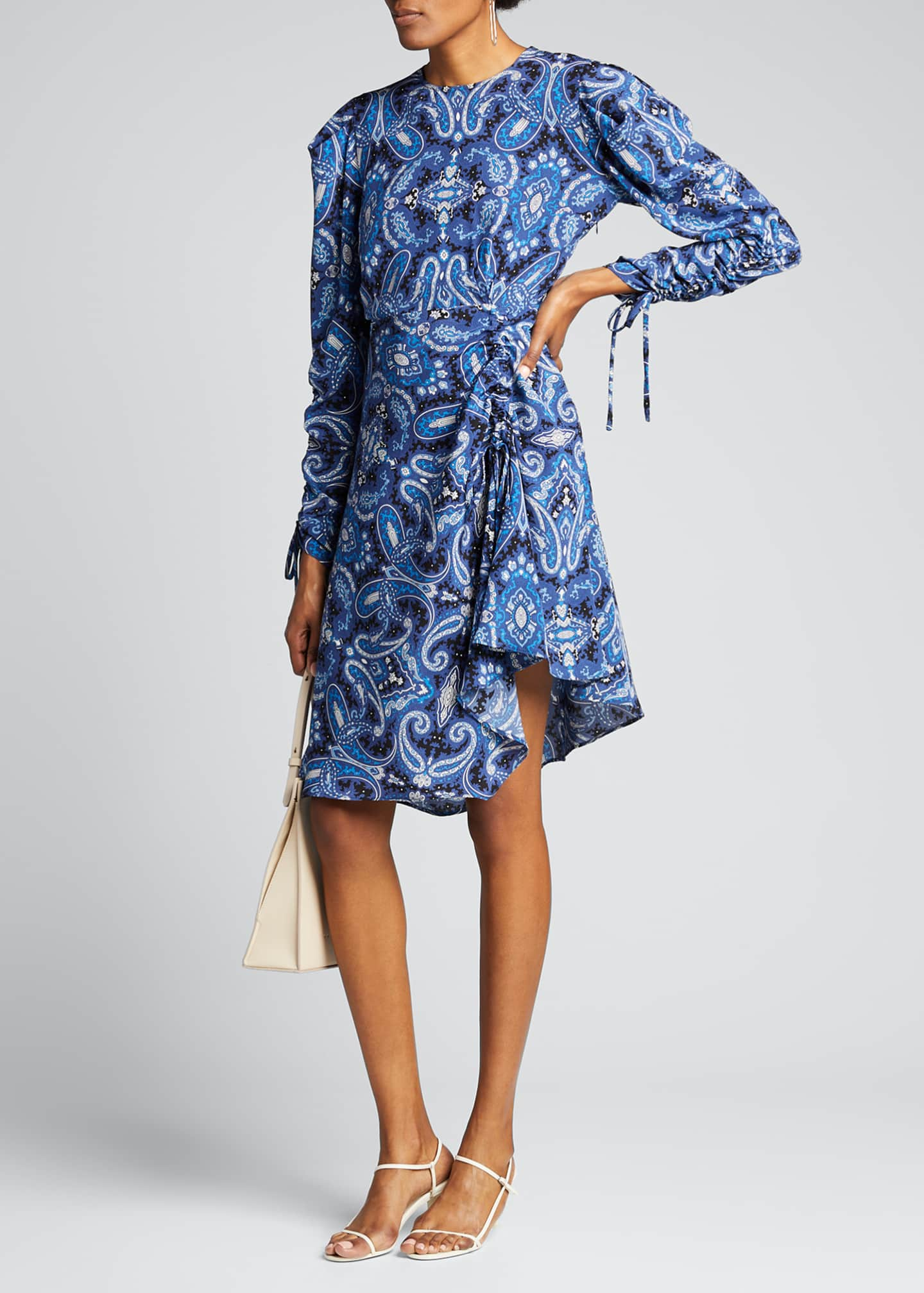 Image 1 of 5: Blue Paisley Swirl Print Drawstring-Sleeve Dress