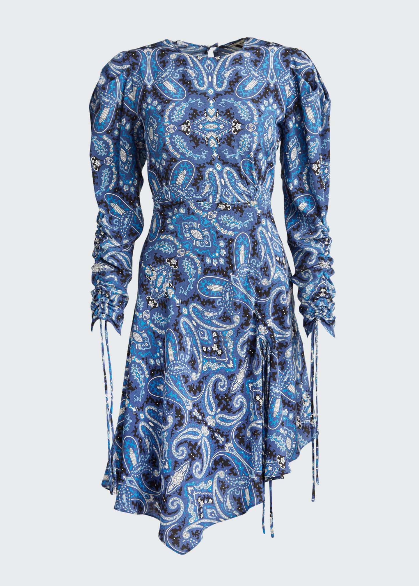 Image 5 of 5: Blue Paisley Swirl Print Drawstring-Sleeve Dress