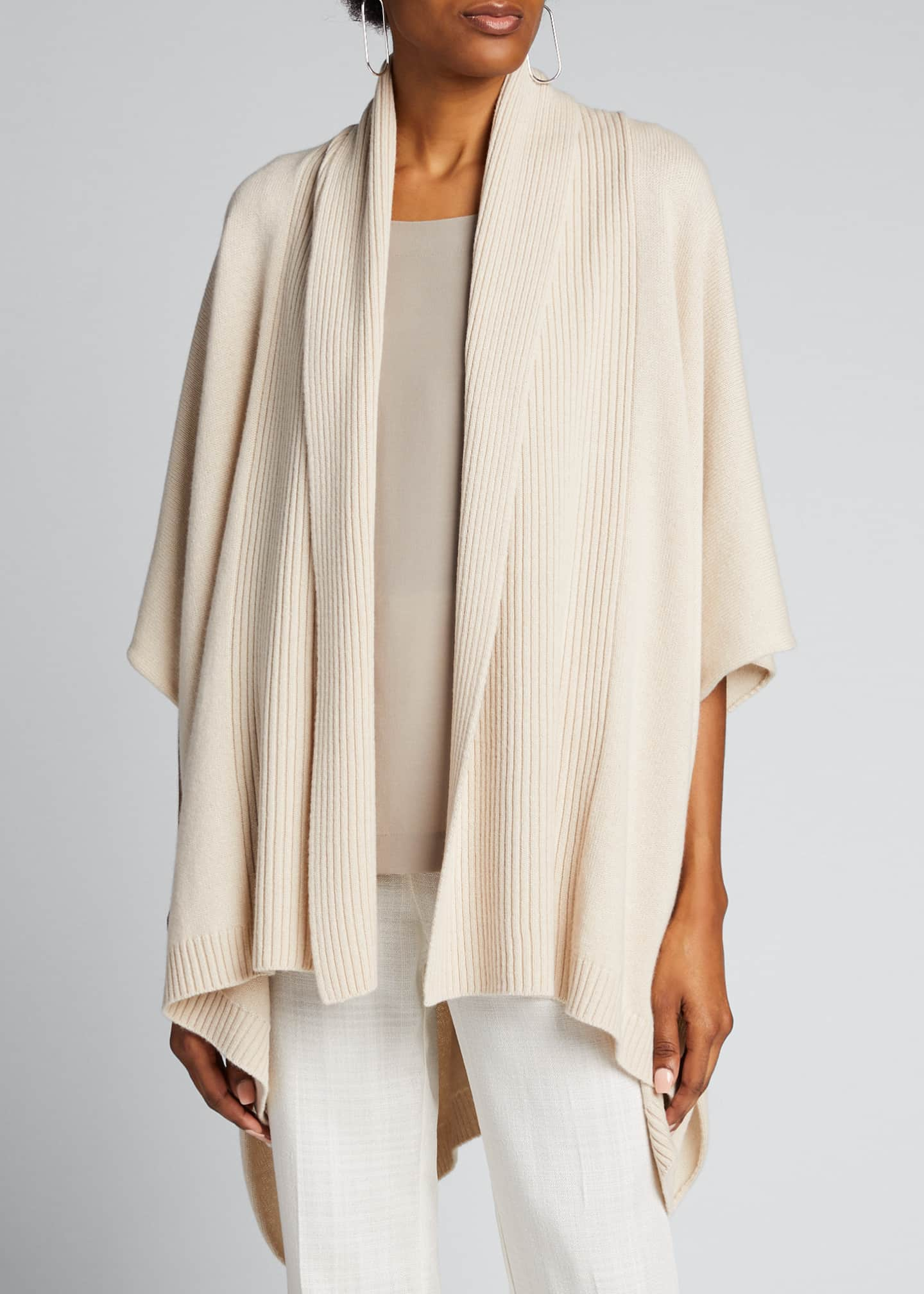 Image 3 of 5: Cashmere Wide High-Low Tabard Cardigan