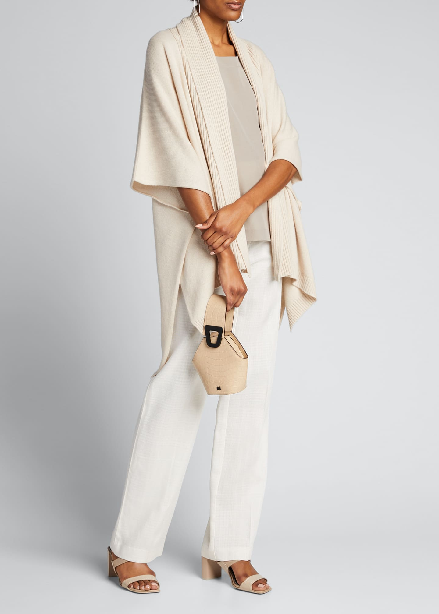 Image 1 of 5: Cashmere Wide High-Low Tabard Cardigan