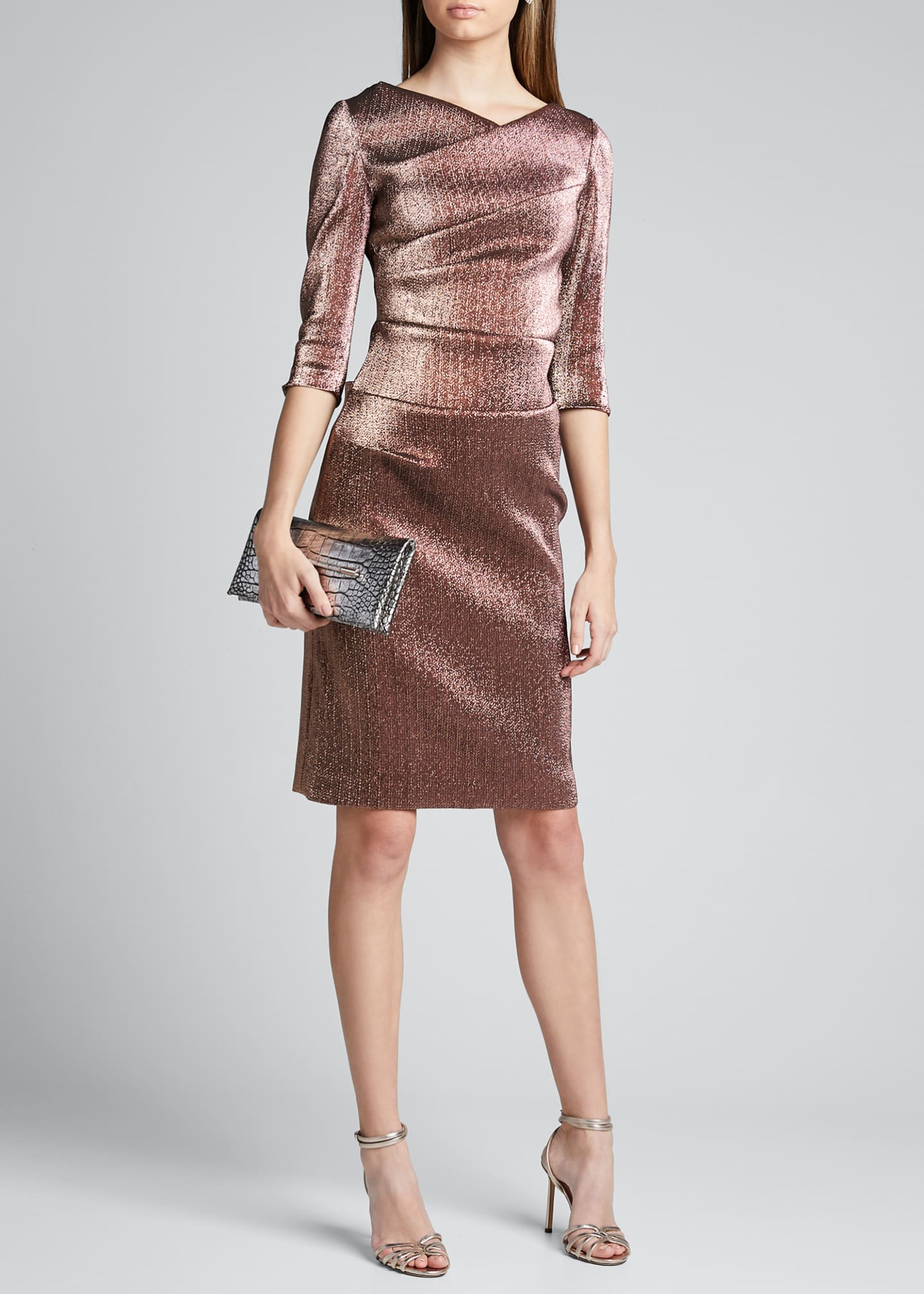 Rickie Freeman for Teri Jon Metallic Elbow-Sleeve Asymmetric